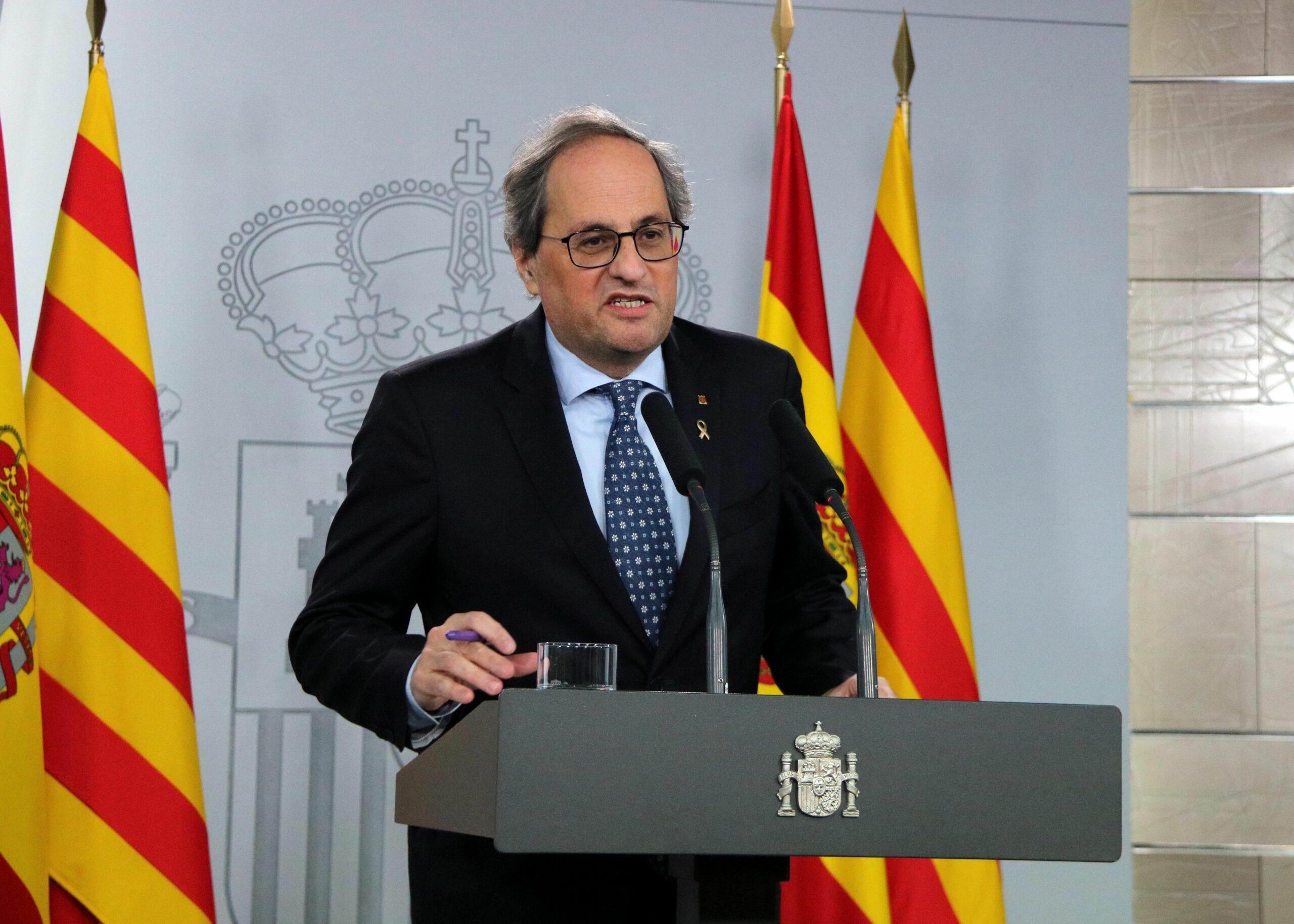 El president de la Generalitat, Quim Torra, durant la seva compareixença a la Moncloa