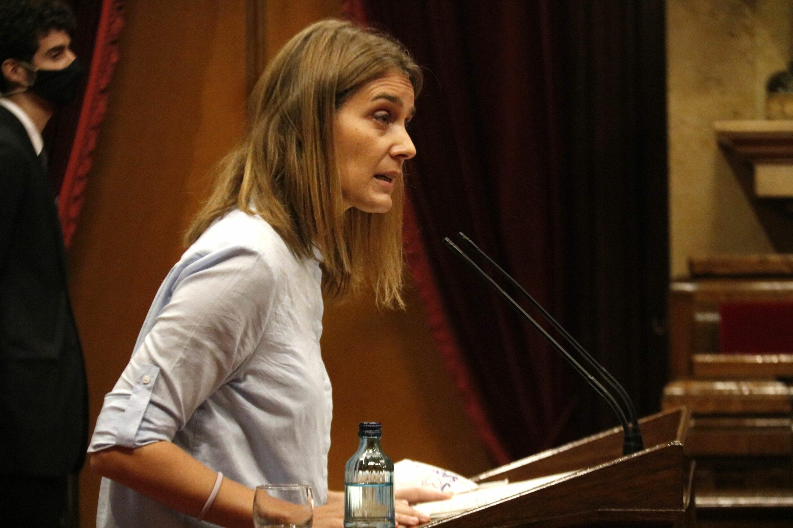 La presidenta de CatECP, Jéssica Albiach, en el debat de política general al Parlament, el 16 de setembre del 2020 / ACN