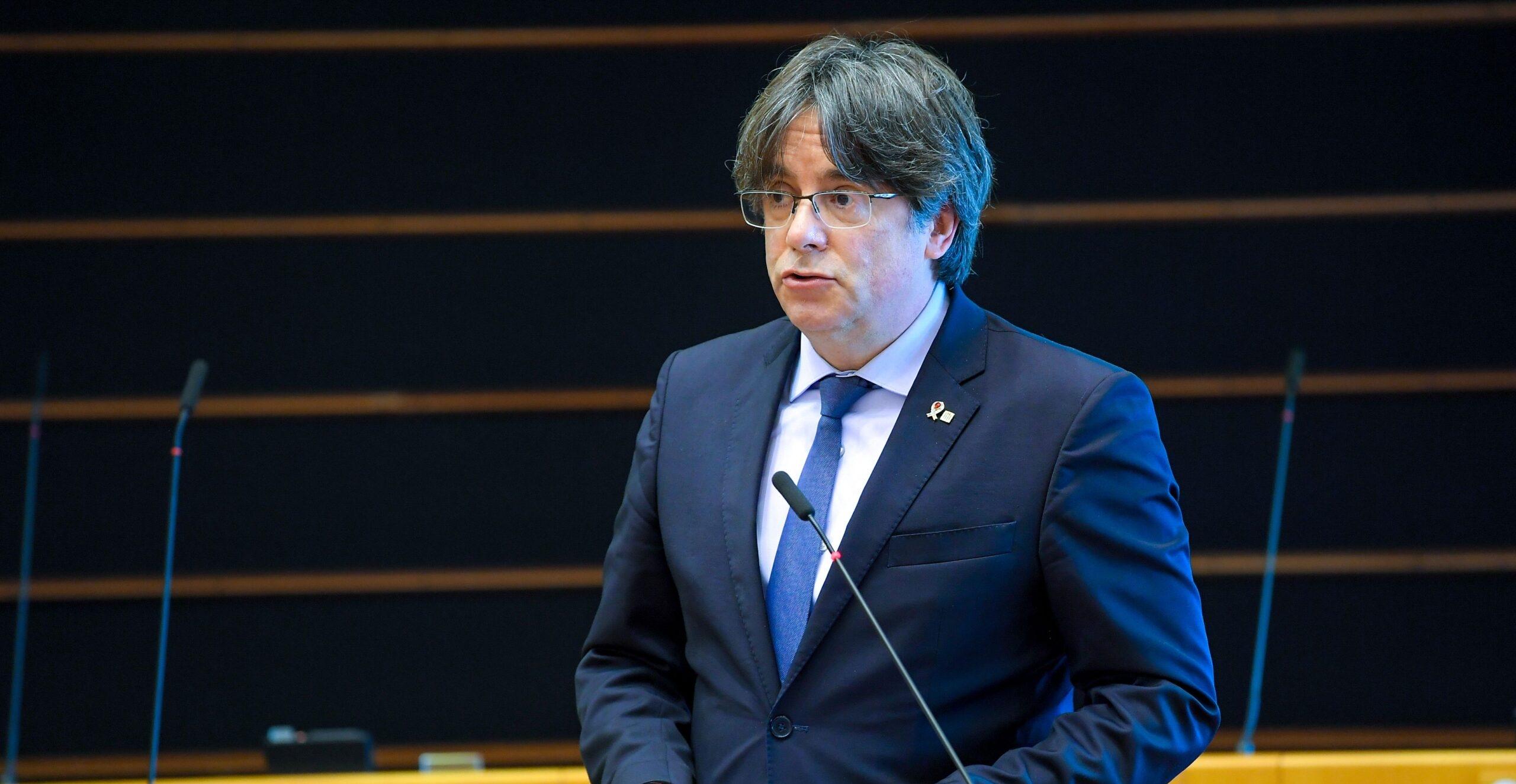 El president a l'exili i líder de JxCat Carles Puigdemont durant un debat a l'Eurocambra el 18 de juny del 2020 (ACN)