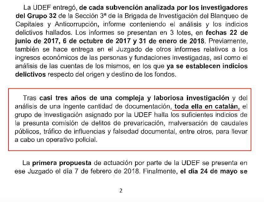 L'apartat de l'ofici policial on el cap de l'UDEF retreia que havia hagut d'investigar la documentació en català