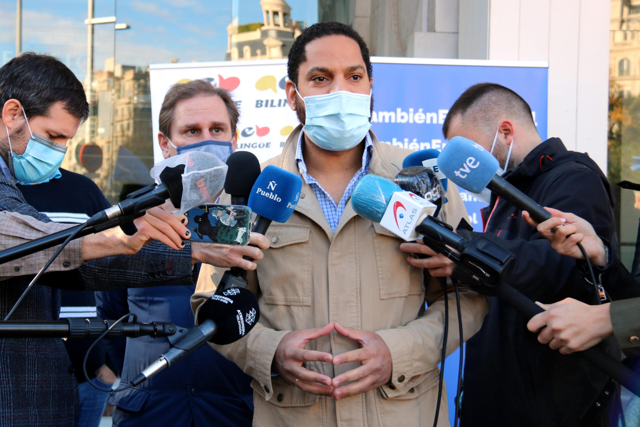 Ignacio Garriga (Vox), durant la mobilització a favor del castellà a Barcelona el 20 de desembre de 2020 (Horitzontal)