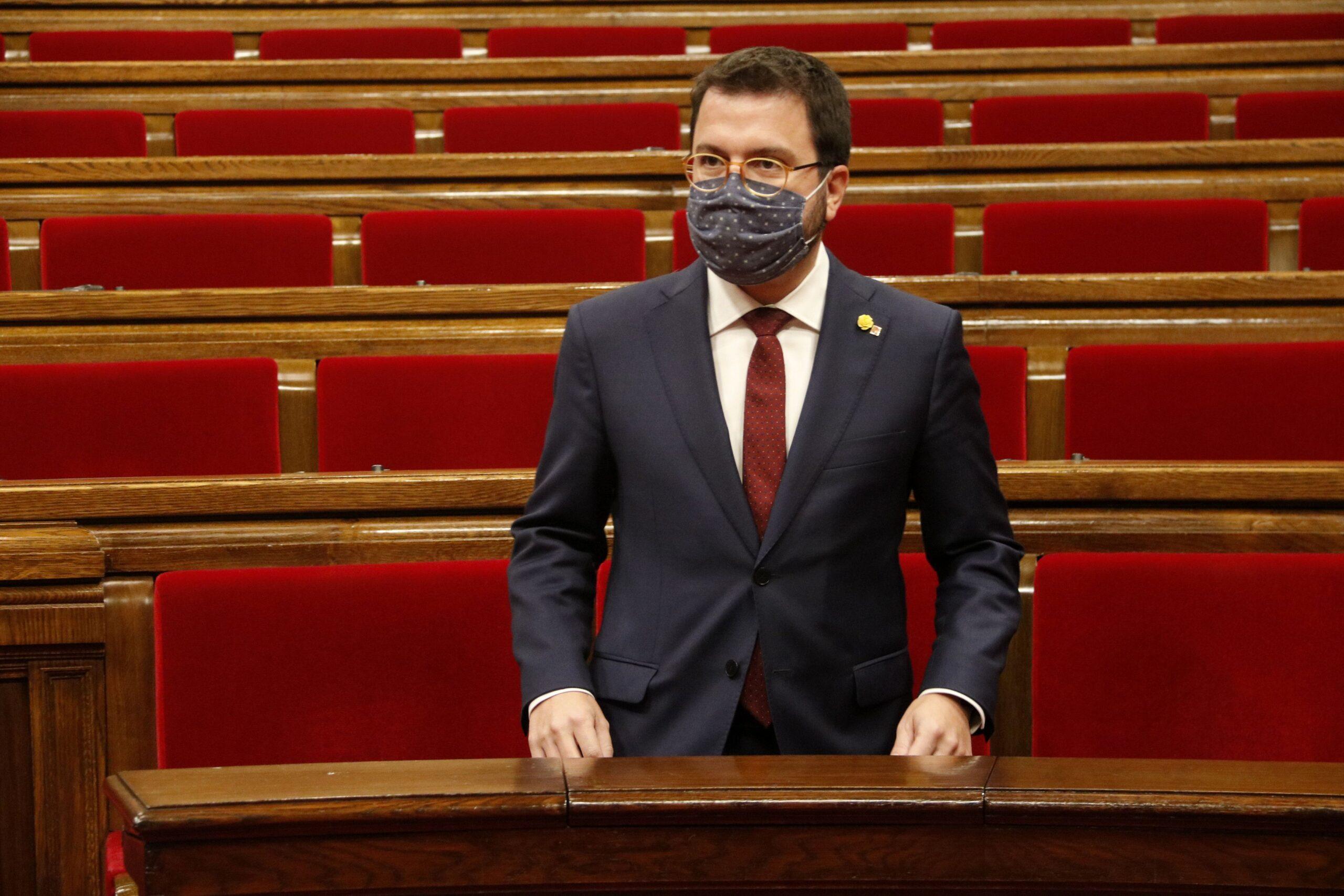 El vicepresident amb funcions de president, Pere Aragonès, al Parlament