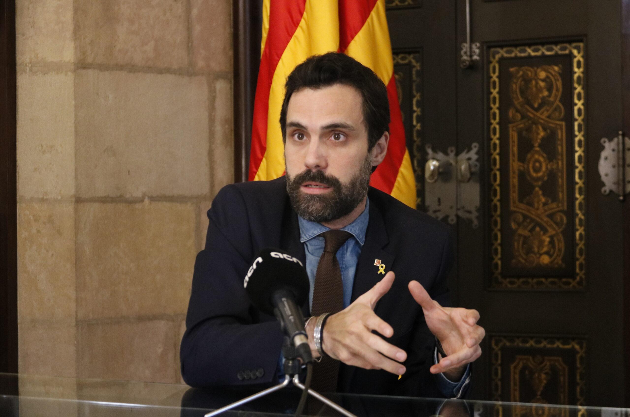 El president del Parlament, Roger Torrent, durant una entrevista amb l'Agència Catalana de Notícies | ACN