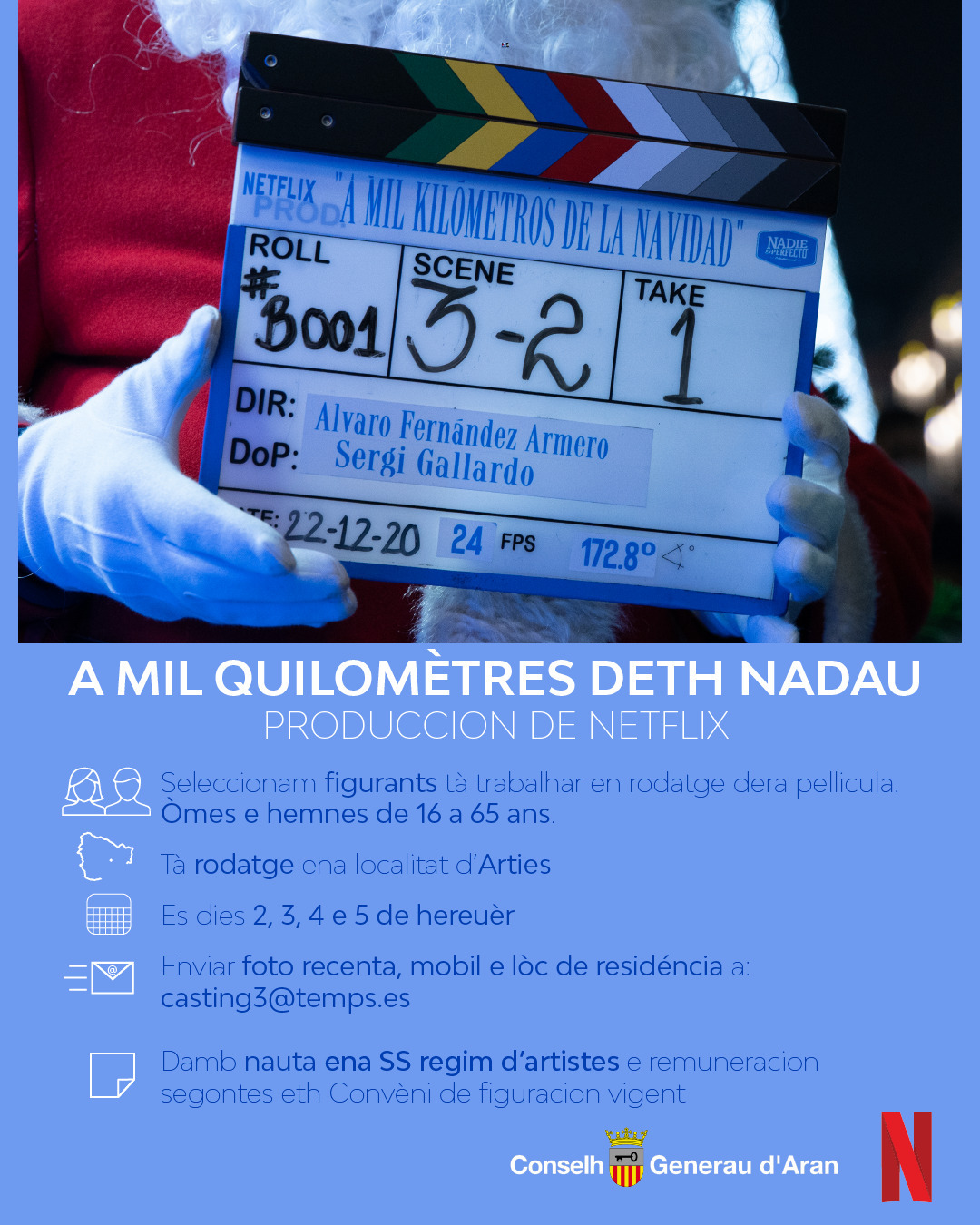 Pla de detall del cartell que busca figurants per la pel·lícula de Netflix a la Val d'Aran. (vertical)