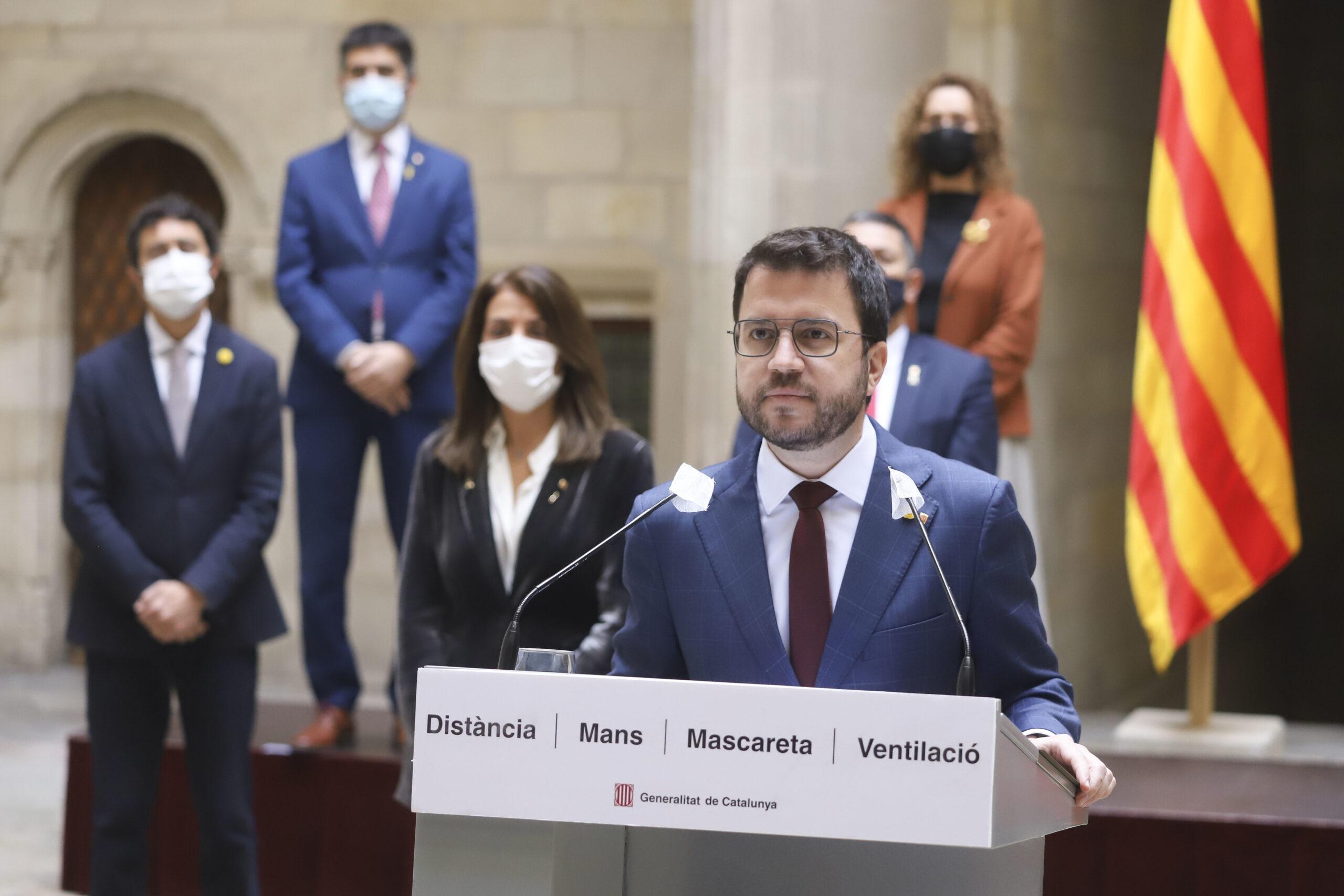 El vicepresident del Govern, Pere Aragonès, en compareixença al Palau de la Generalitat, el 21 de gener de 2021. després de la resolució del TSJC sobre el 14F / ACN