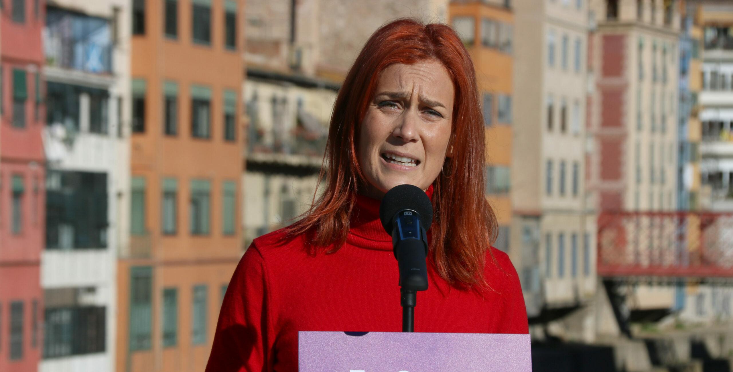 Jéssica Albiach en un acte a Girona dels Comuns | ACN
