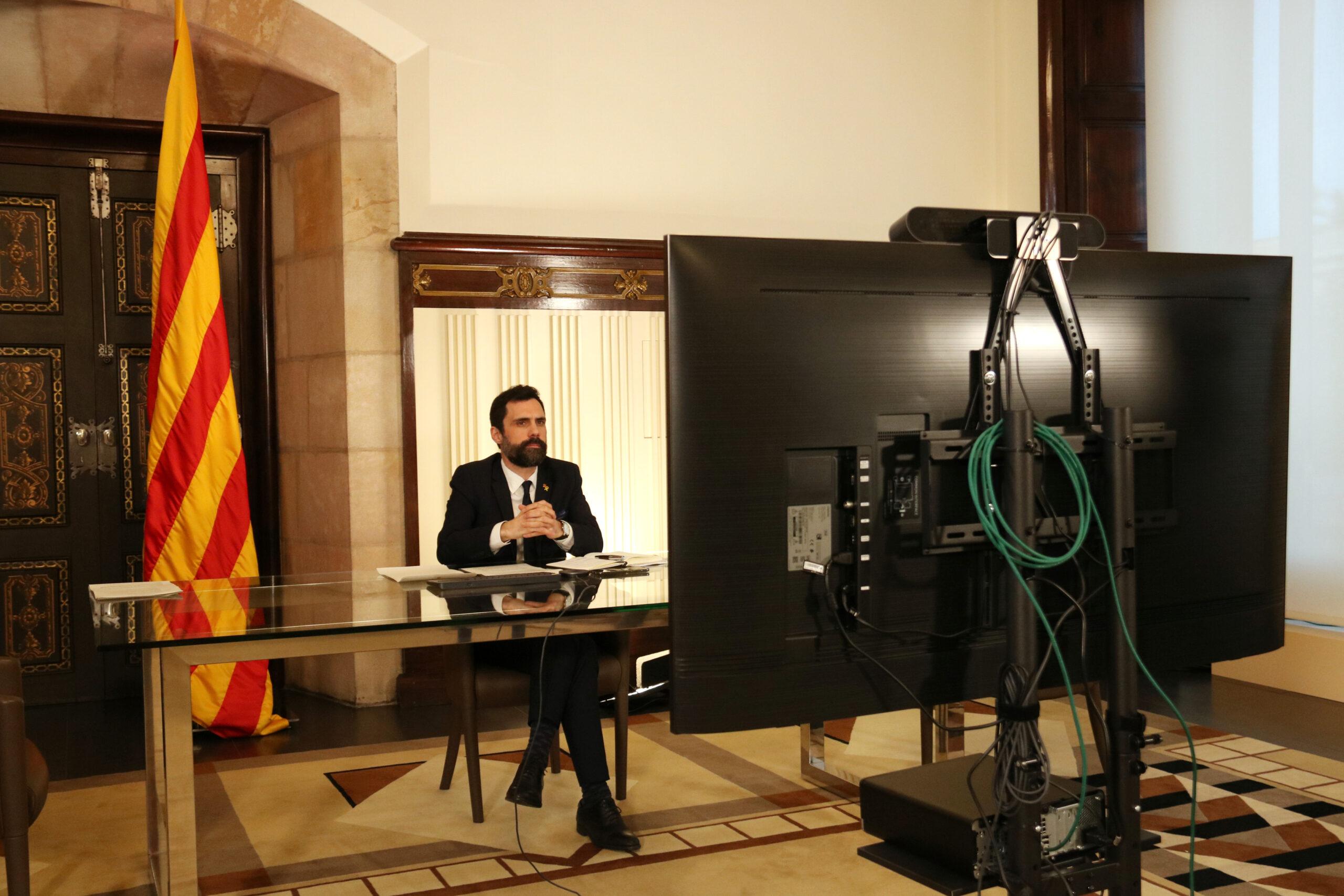 Reunió del president del Parlament, Roger Torrent, amb la Comissió per al Respecte de les Obligacions i els Compromisos dels Estats membres