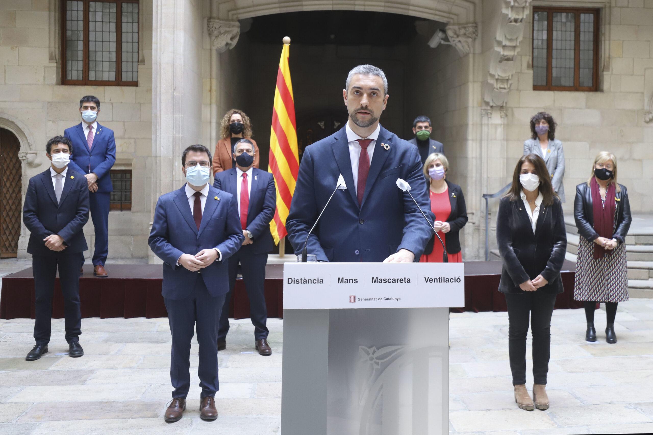 El conseller Bernat Solé, en compareixença al Palau de la Generalitat, el 21 de gener de 2021 (Horitzontal)
