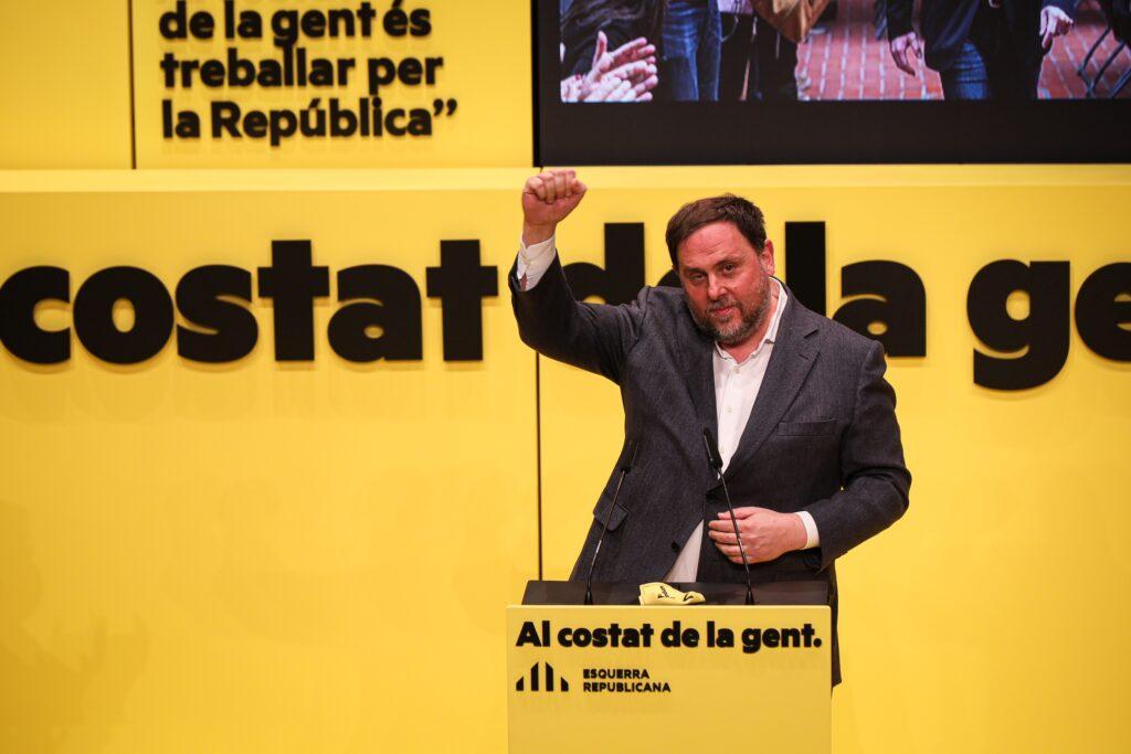 Oriol Junqueras, en el seu primer míting després de més de tres anys empresonat JORDI BORRÀS