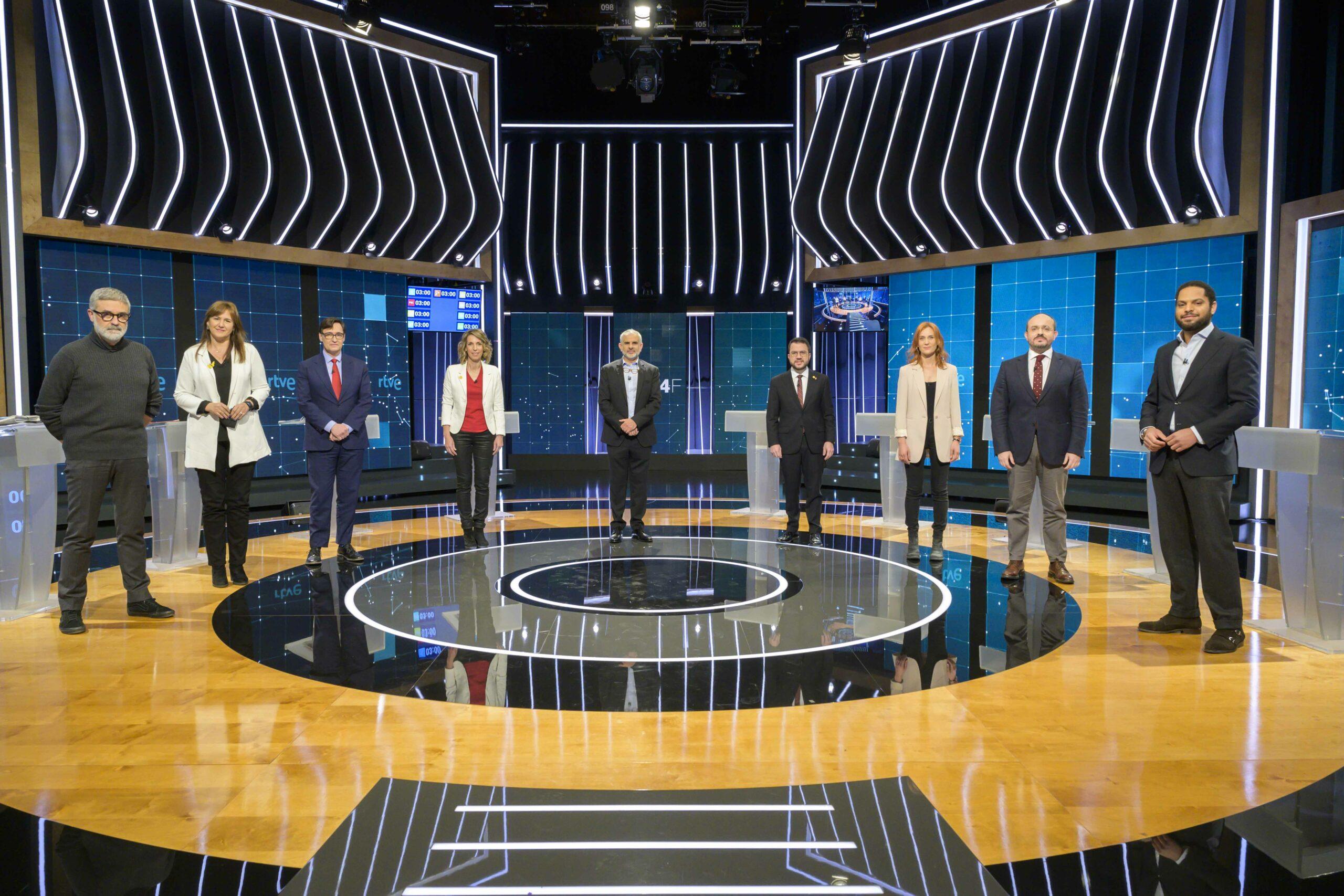 Els candidats a les eleccions catalanes del 14F al debat electoral de RTVE, el 31 de gener del 2021 / ACN