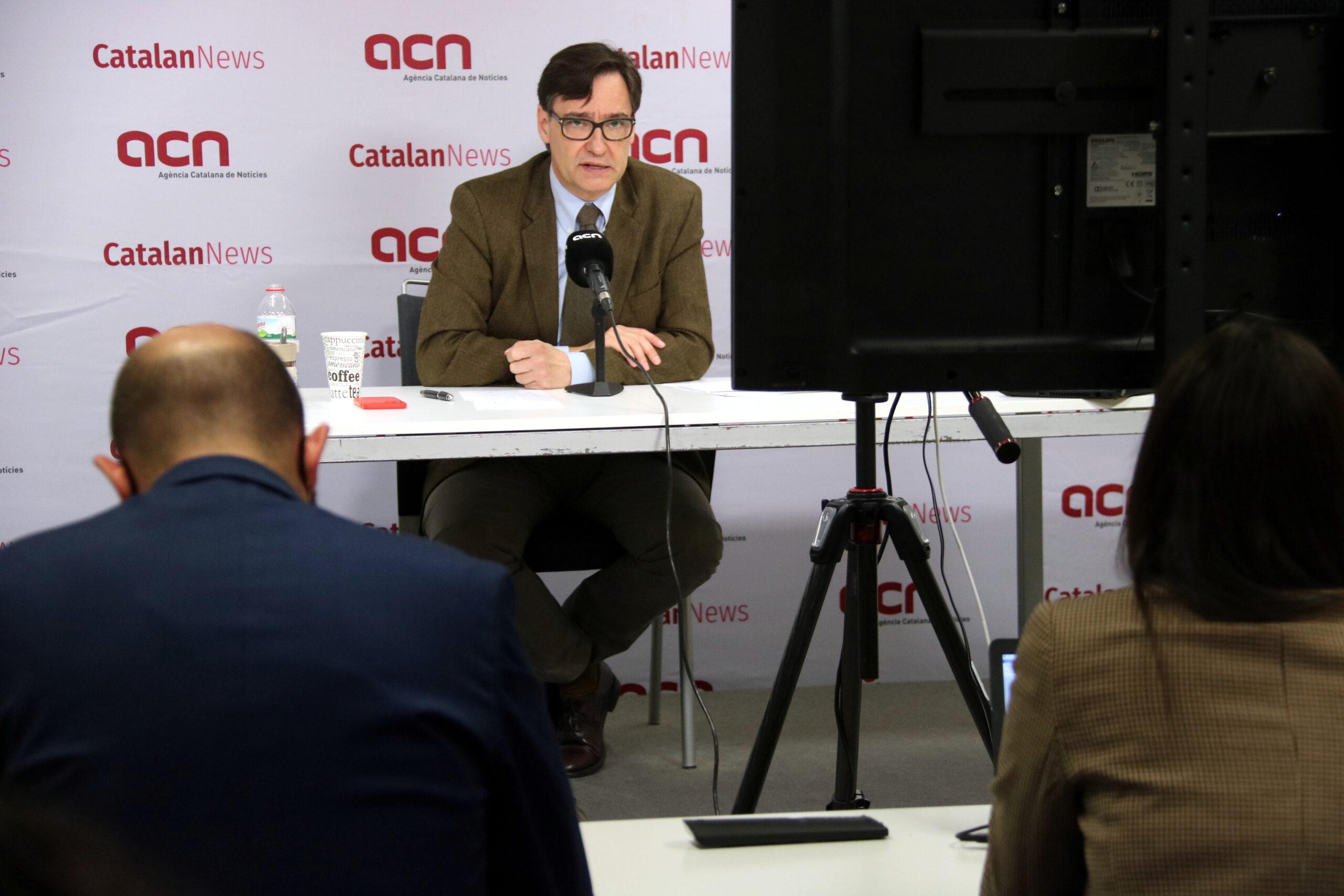 Roda de premsa de Salvador Illa a la seu de l'Agència Catalana de Notícies | ACN