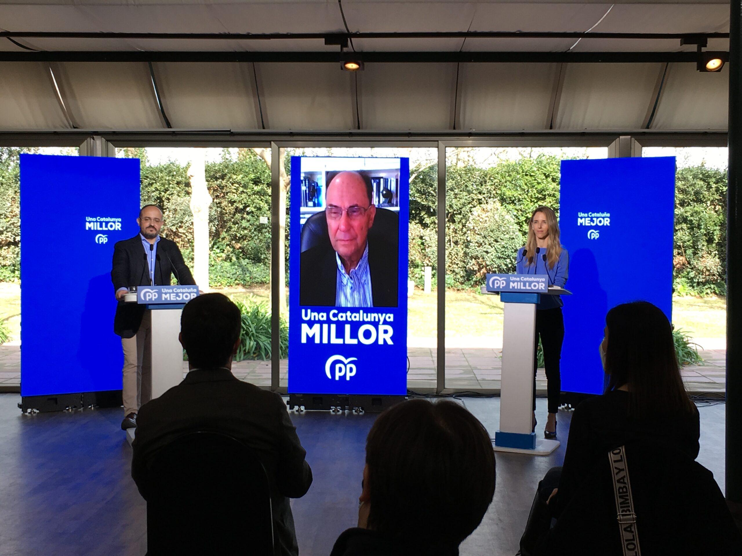 Alejandro Fernández, Vidal-Quadras (per videoconferència) i Cayetana Álvarez de Toledo, avui / Europa Press