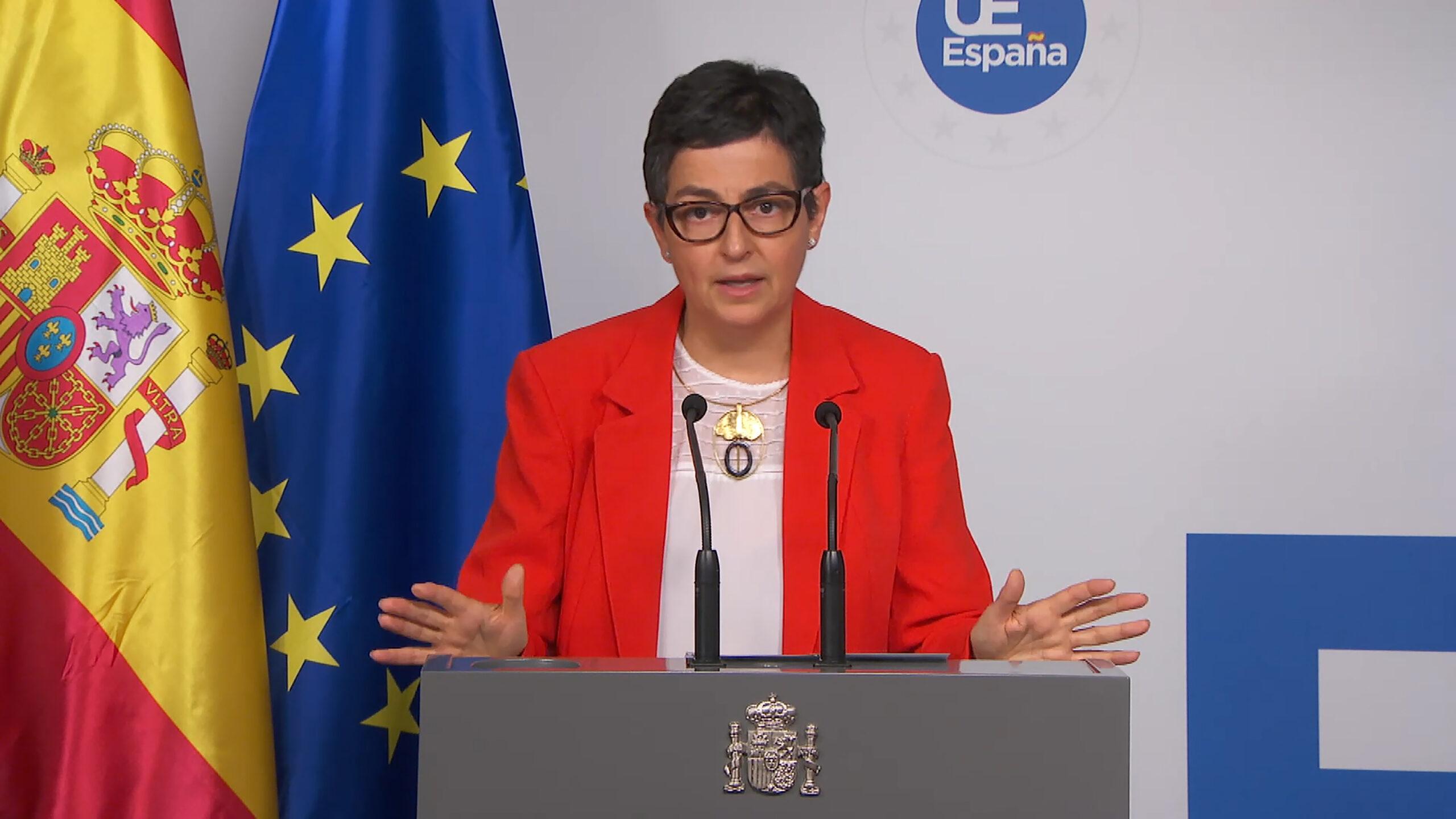 La ministra d'Exteriors, Arancha González Laya, durant una roda de premsa a Brussel·les el 13 de juliol del 2020 / ACN