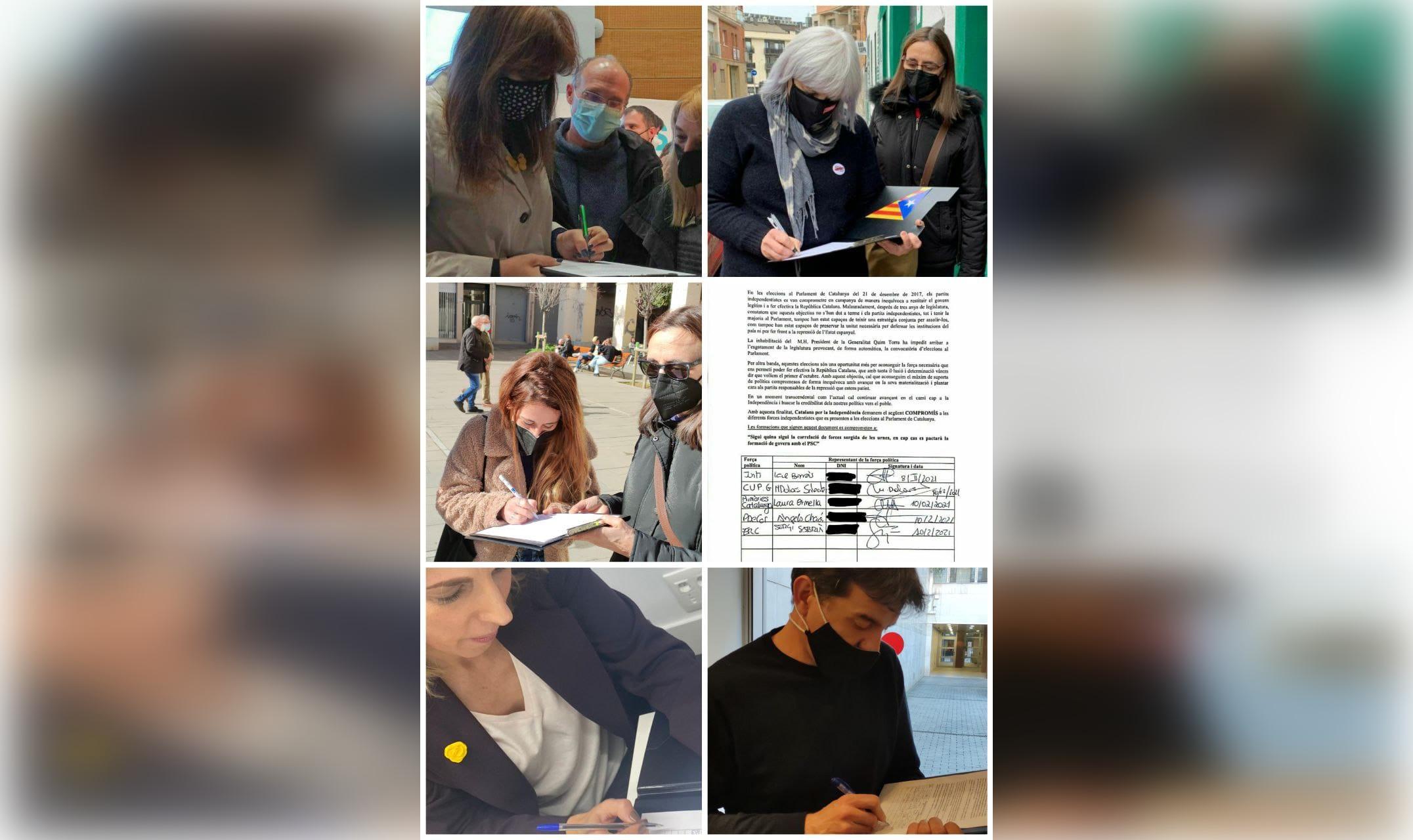 Representants dels partits independentistes firmant que no pactaran amb el PSC / Catalans per la Independència