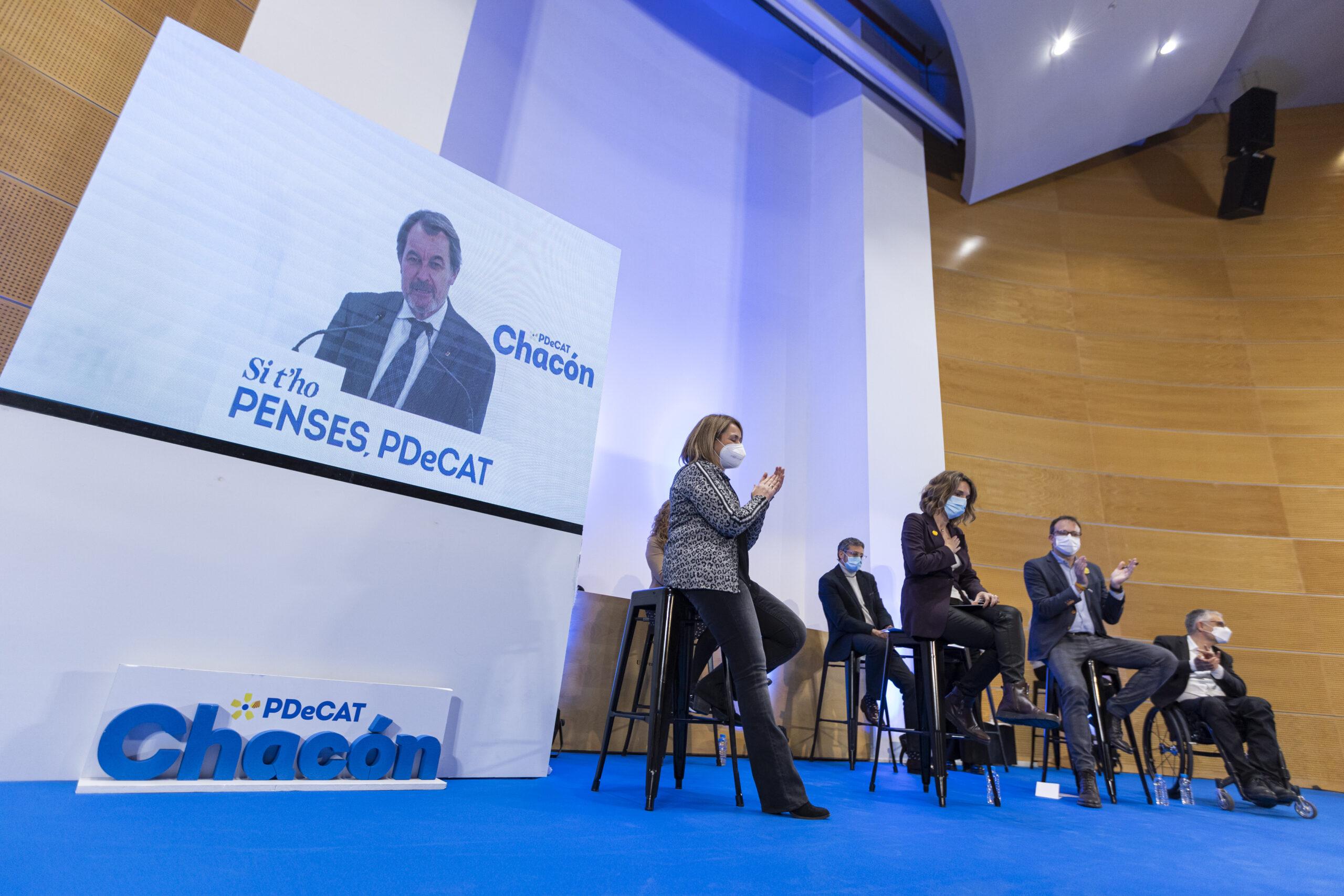 Imatge general de l'acte del PDeCAT a Lleida. Imatge del 10 de febrer de 2021. (Horitzontal)