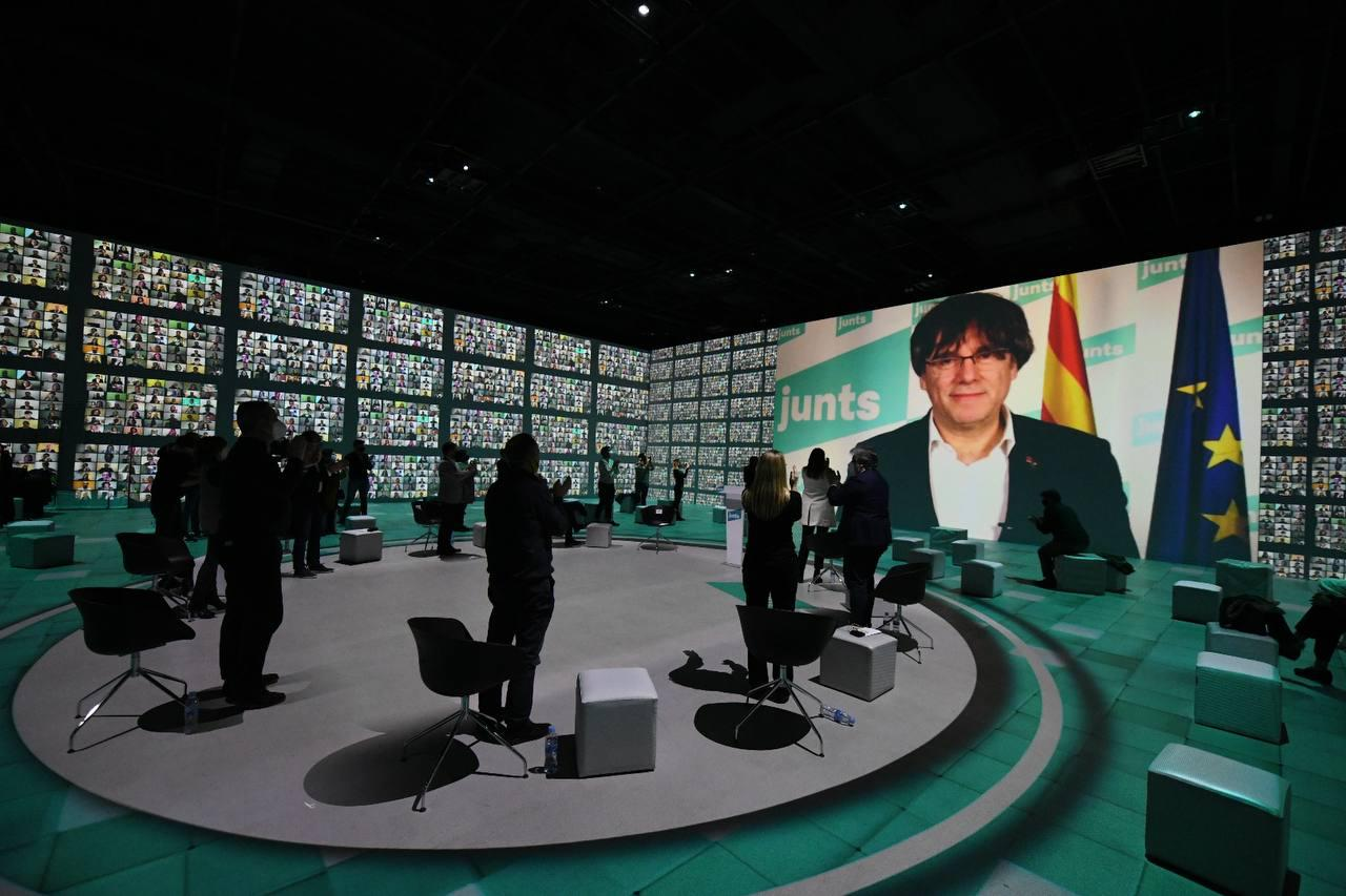 Míting final de campanya de JxCAT, amb el president a l'exili per videoconferència