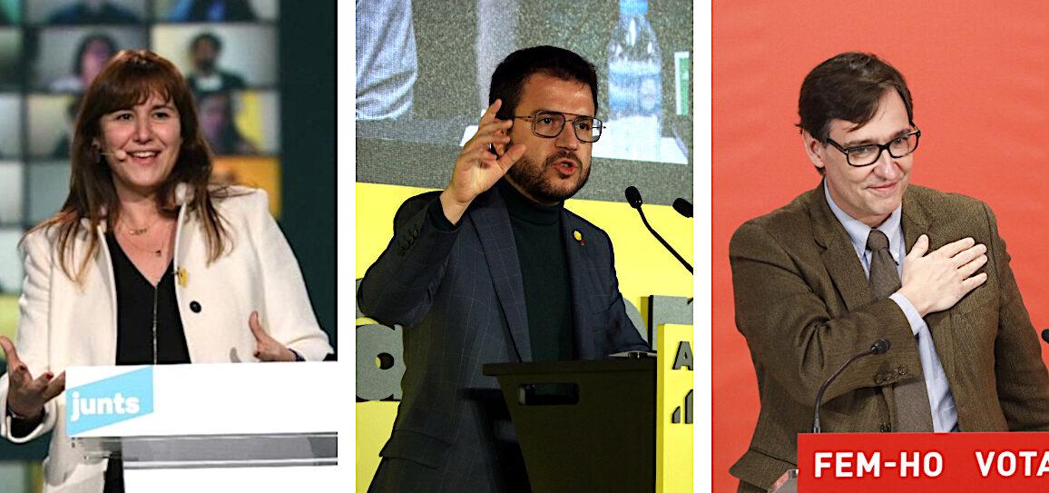 Laura Borràs, Pere Aragonès i Salvador Illa en els respectius actes de tancament de campanya del 14F / ACN