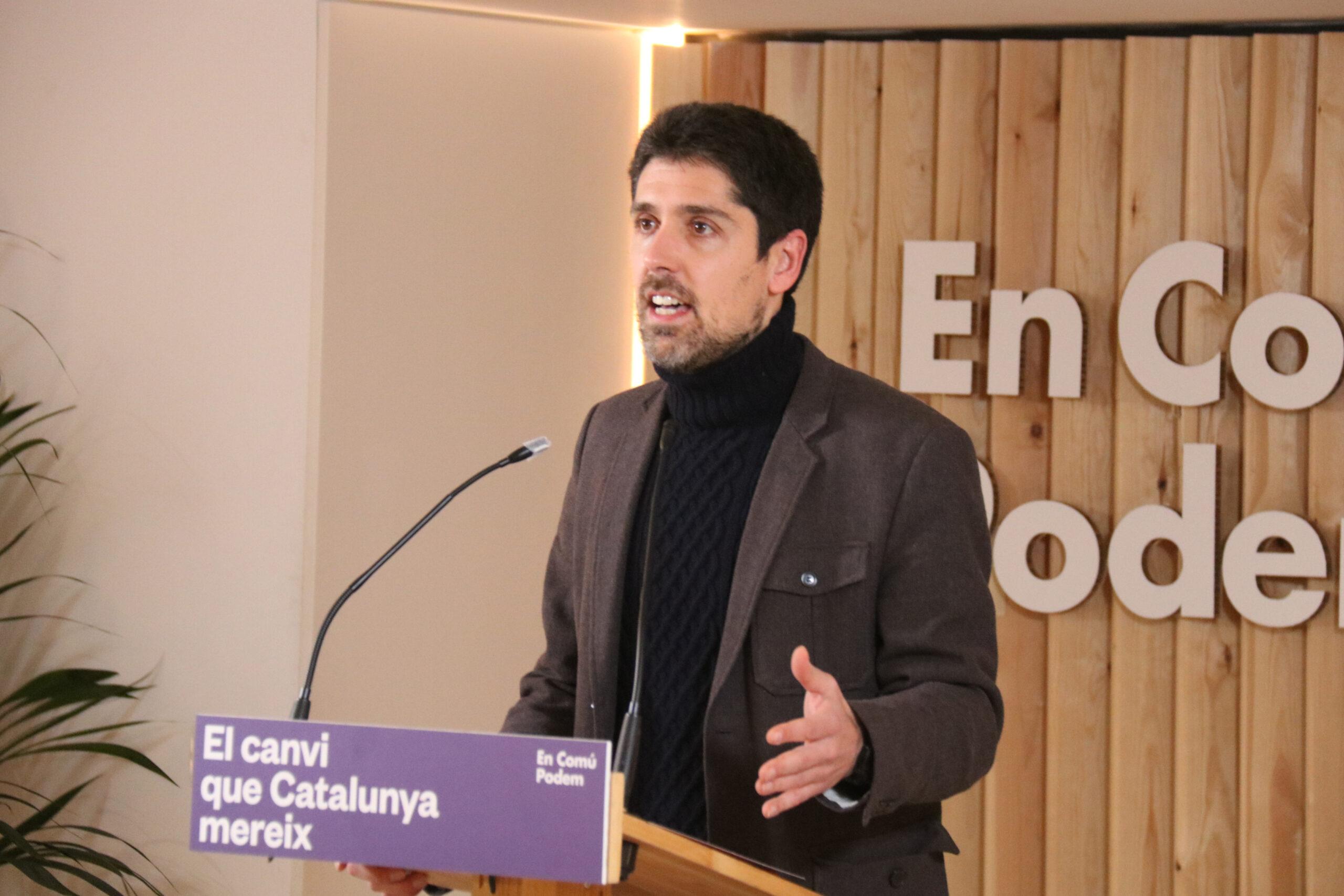 El director de campanya dels comuns, David Cid, durant la valoració de la participació de les eleccions /ACN