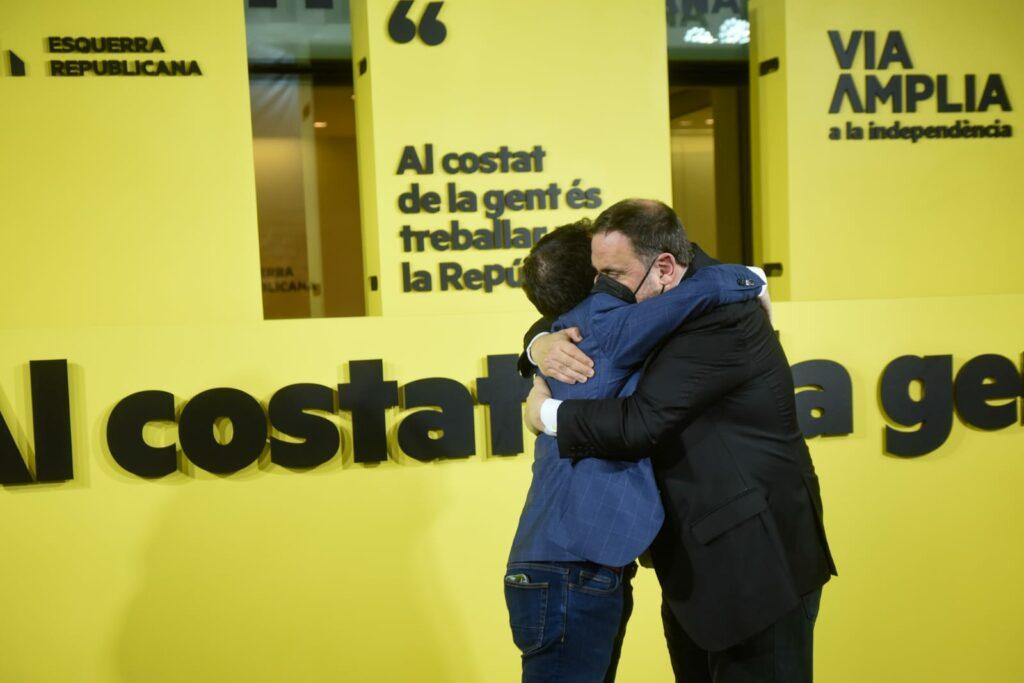 Pere Aragonès i Oriol Junqueras celebrant la victòria d'ERC / Cedida