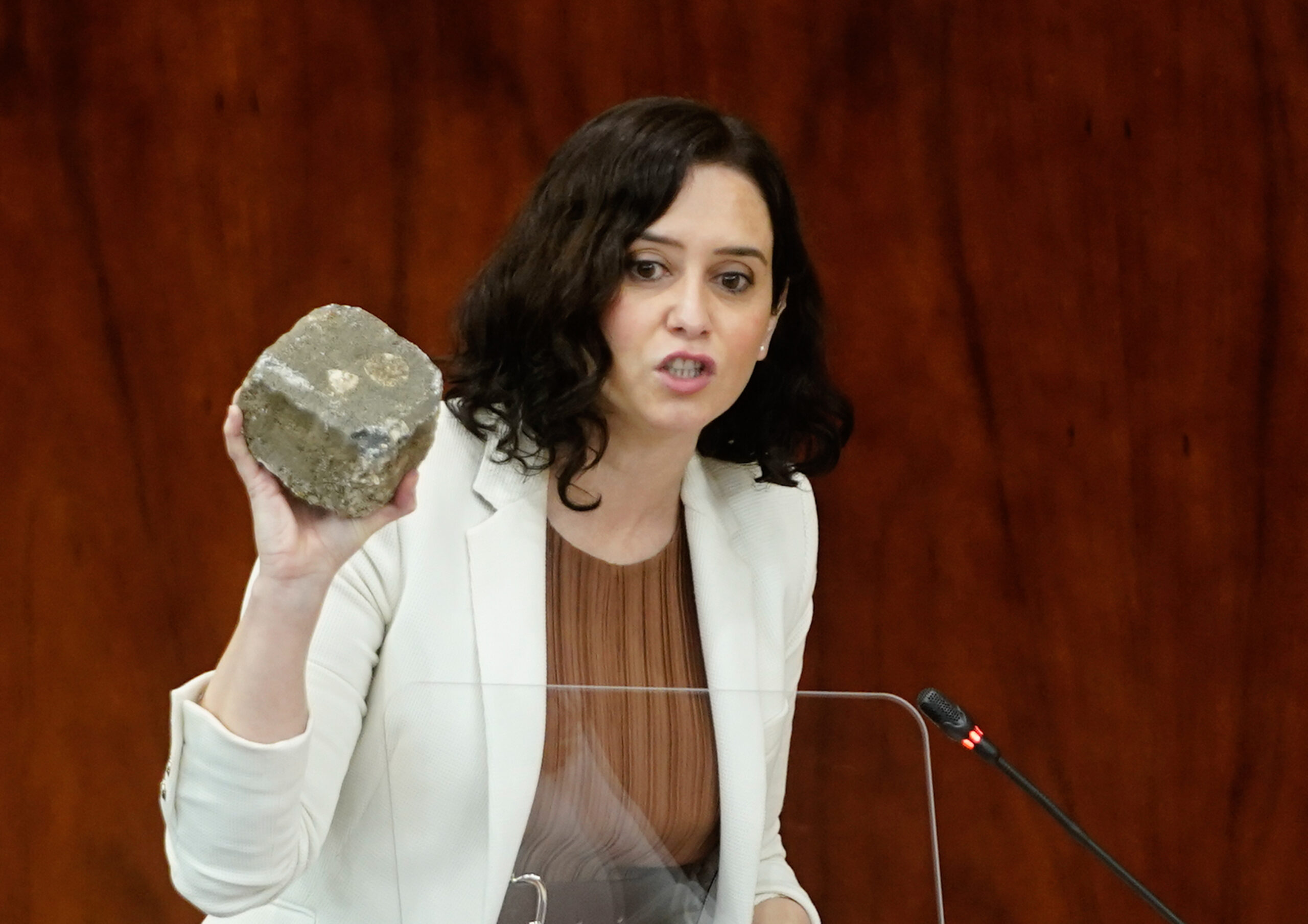 La presidenta de la Comunitat de Madrid, Isabel Díaz Ayuso, mostra a l'Assemblea de Madrid una llamborda suposadament utilitzada als aldarulls per Pablo Hasél   ACN