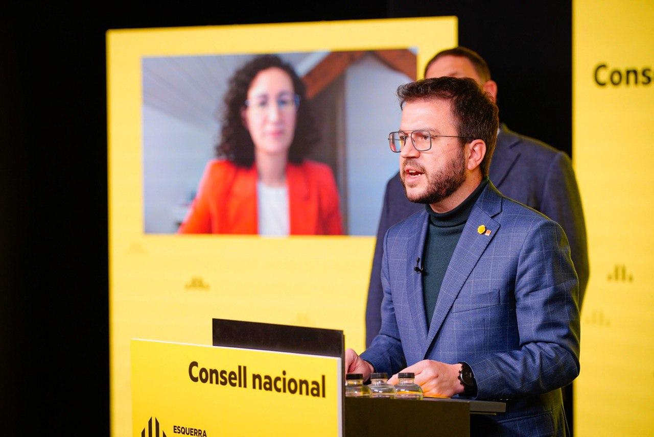 El cap de llista d'ERC a les eleccions al Parlament, Pere Aragonès, durant el Consell Nacional d'ERC. Imatge del 19 de febrer de 2021 / ACN