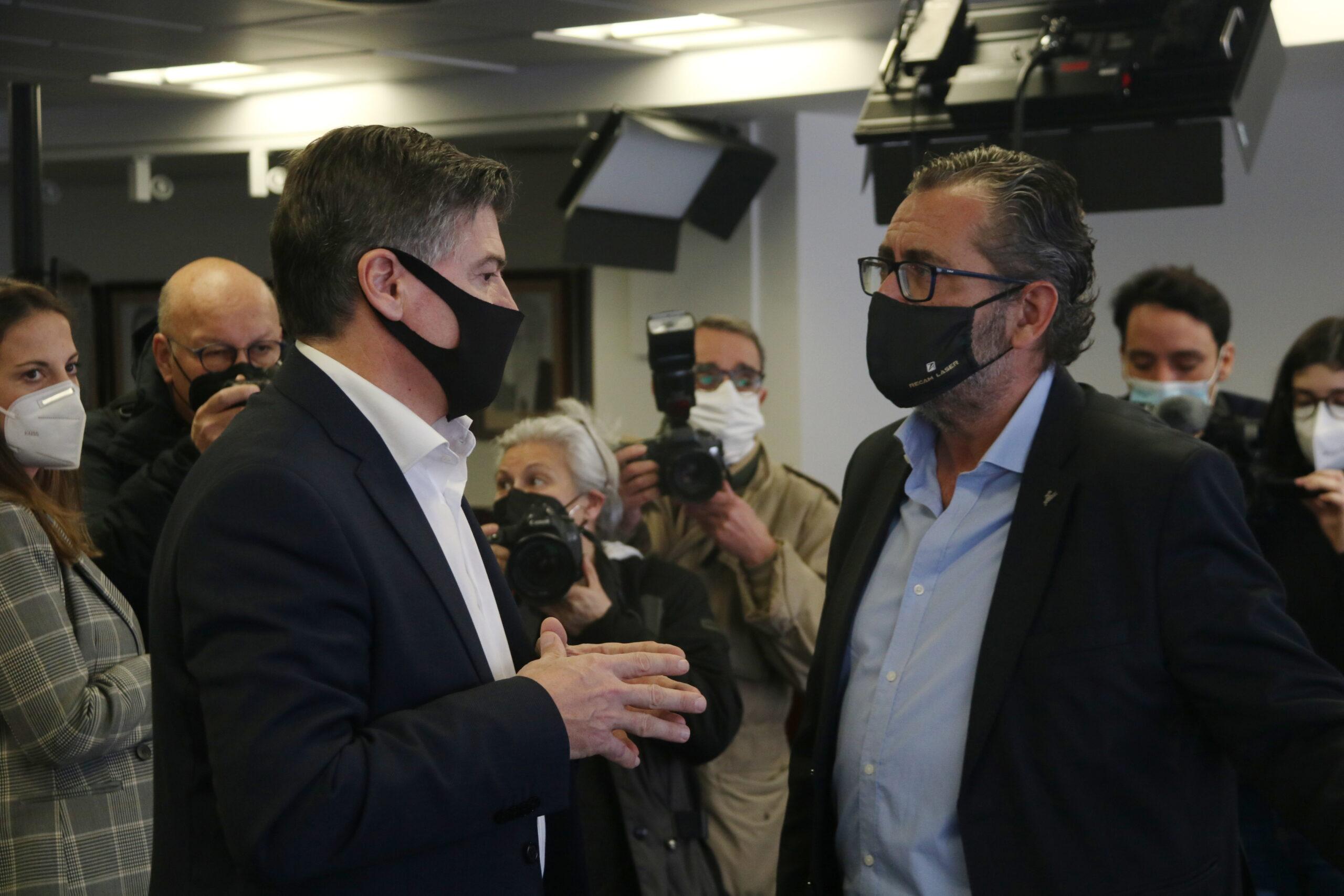 Els dos candidats a la presidència de Pimec, Antoni Cañete (esquerra) i Pere Barrios (dreta) | ACN