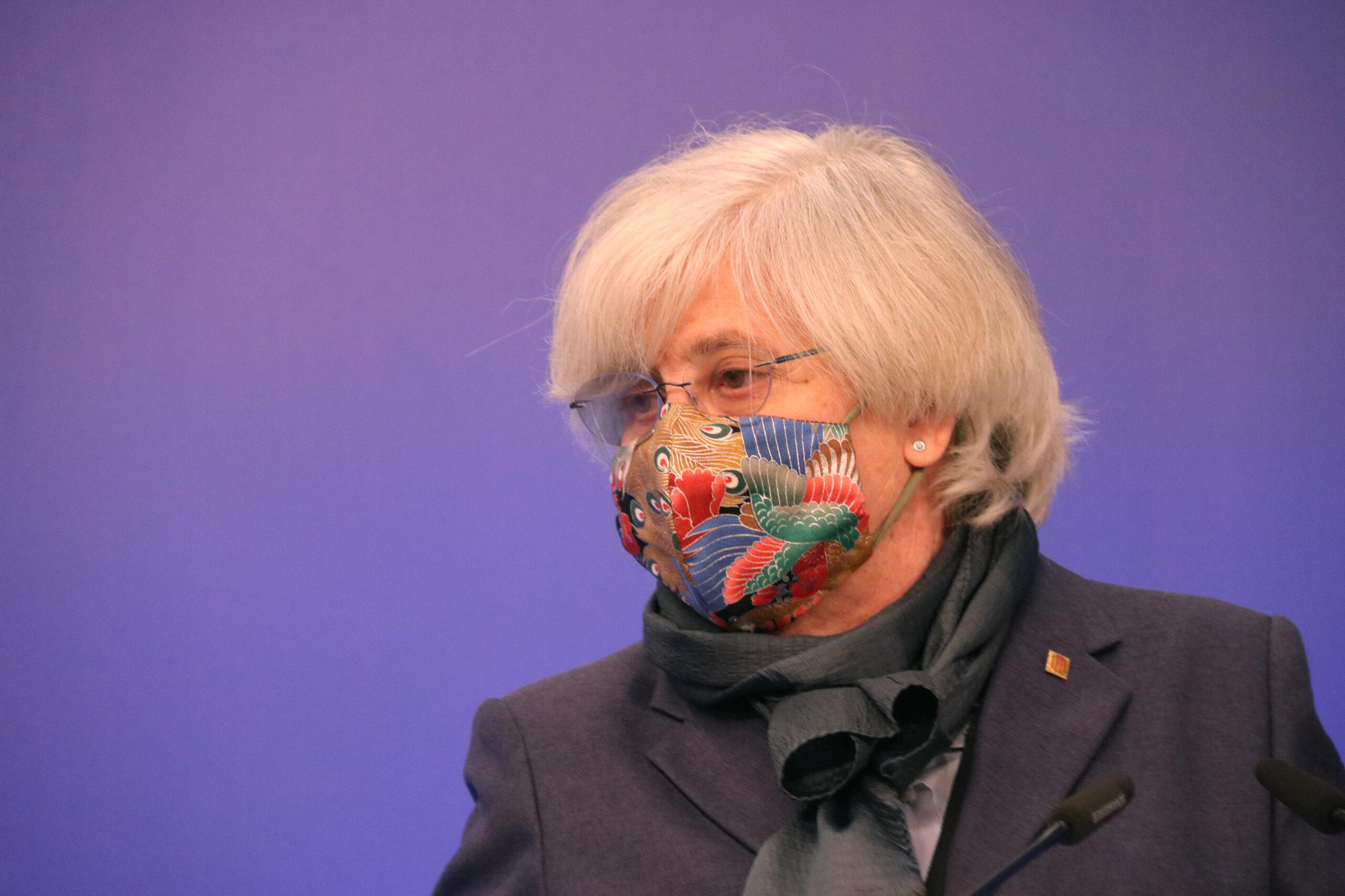 L'eurodiputada de JxCat Clara Ponsatí en la roda de premsa a l'Eurocambra sobre el suplicatori | ACN