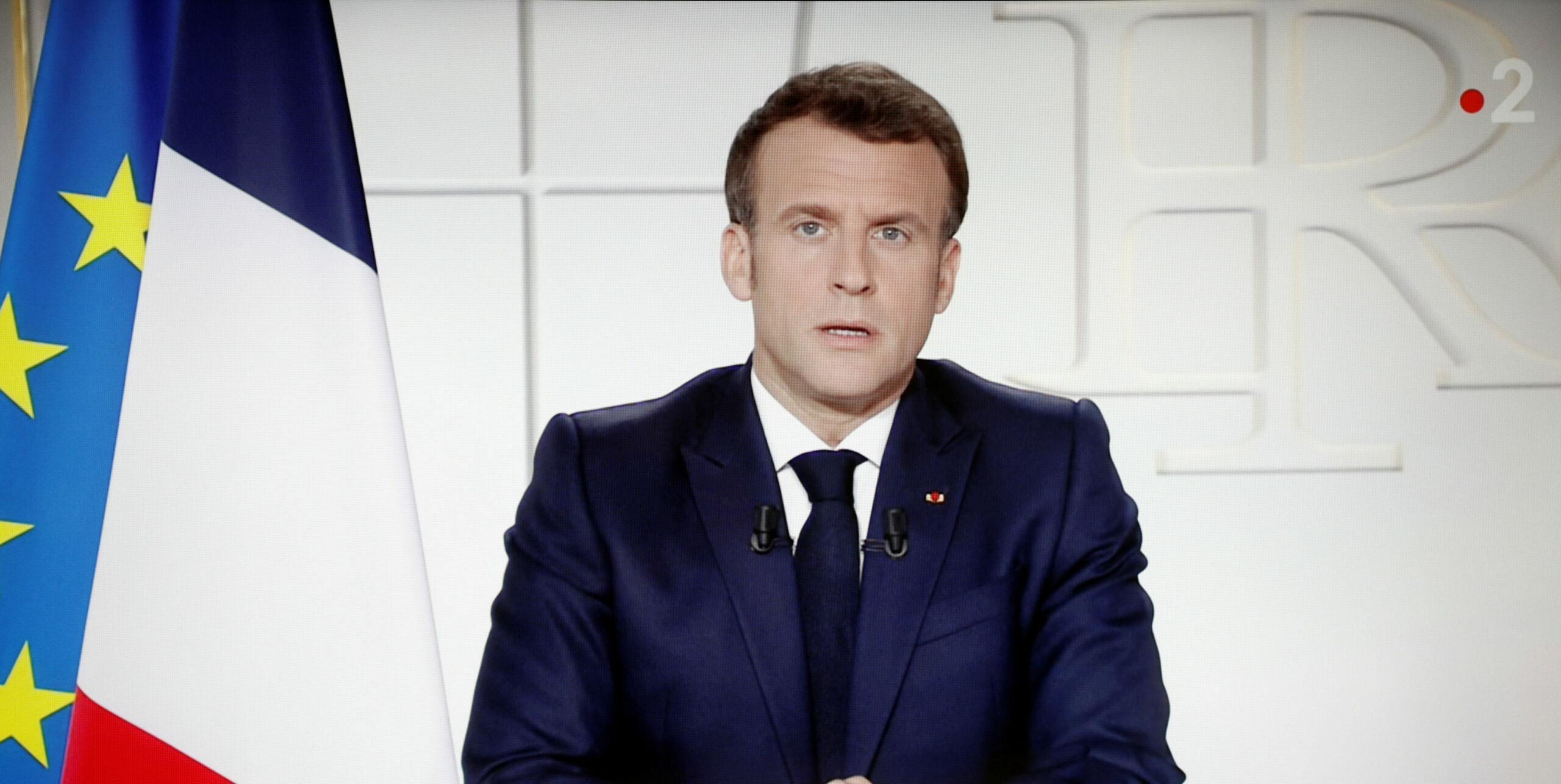 Macron, en la seva compareixença per anunciar noves restriccions contra la Covid, el 31 de març de 2021. ACN/ REUTERS/Stephane Mahe