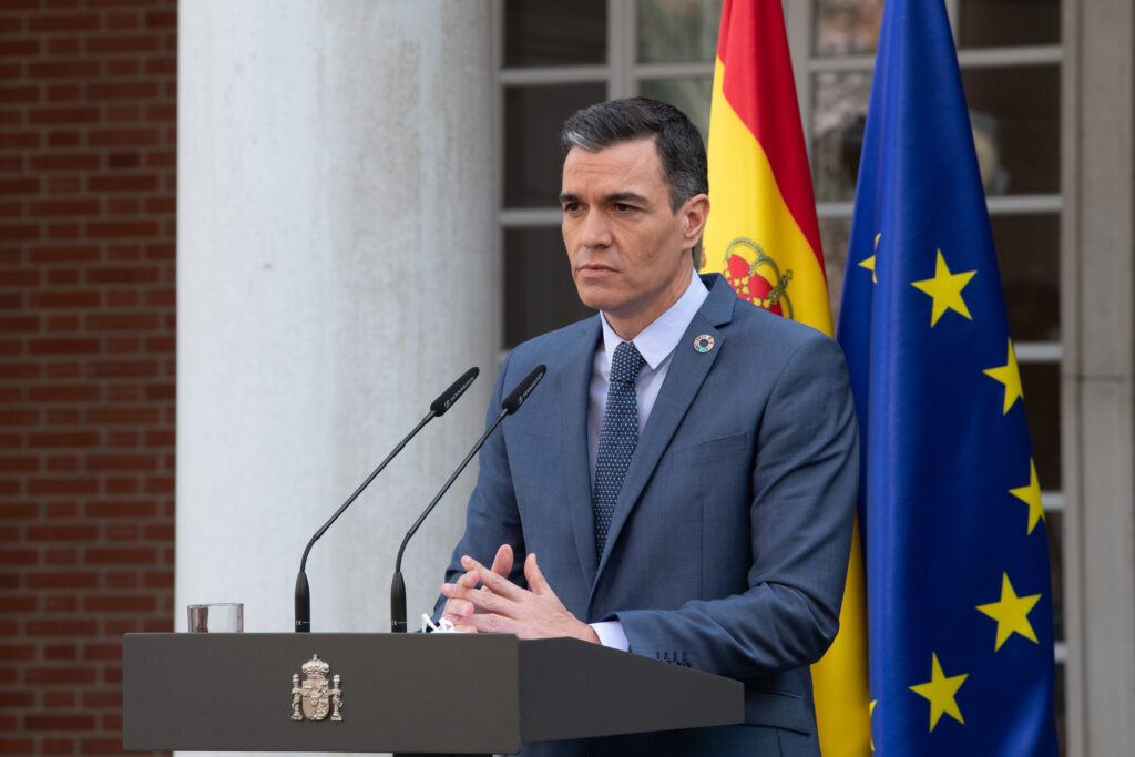 El president del govern espanyol, Pedro Sánchez, en roda de premsa a La Moncloa | ACN