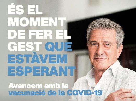 L'exfutbolista Pichi Alonso en un dels cartells de la campanya de Salut per fomentar la vacunació de la covid-19