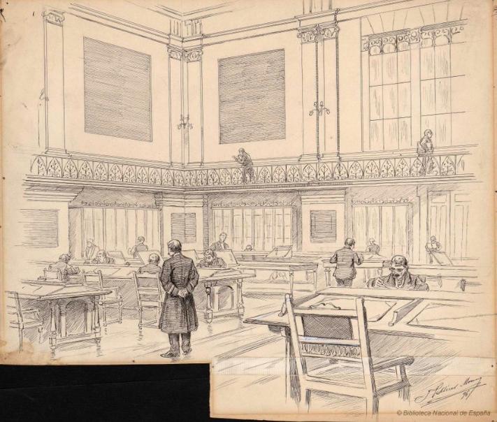 Una de les sales de la Biblioteca Nacional de España, fundada el 1712