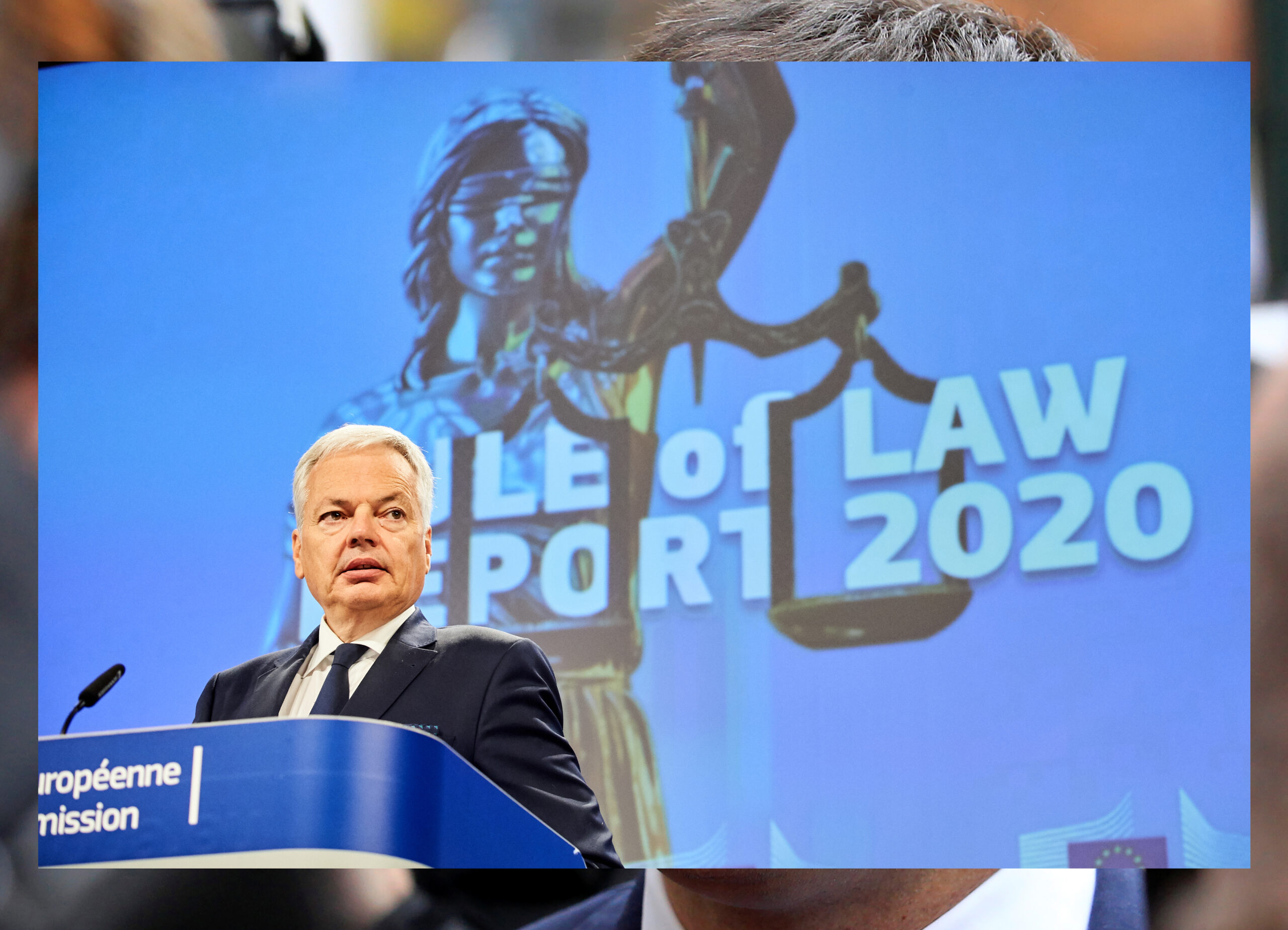 L'eurocomissari de Justícia Didier Reynders durant la roda de premsa de presentació de l'informe sobre l'estat de dret a Brussel·les el 30 de setembre del 2020. (Hortizontal)