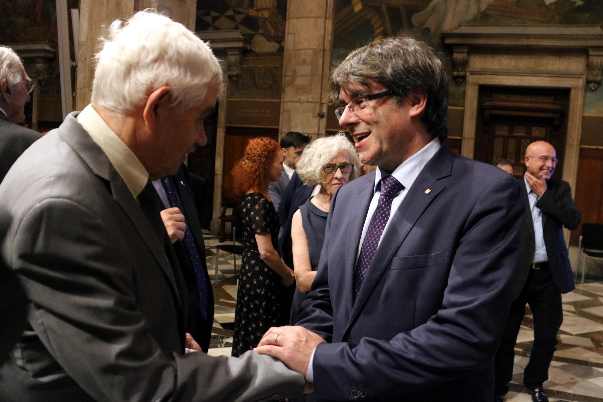 Els presidents Maragall i Puigdemont, en un acte l'any 2017 ACN