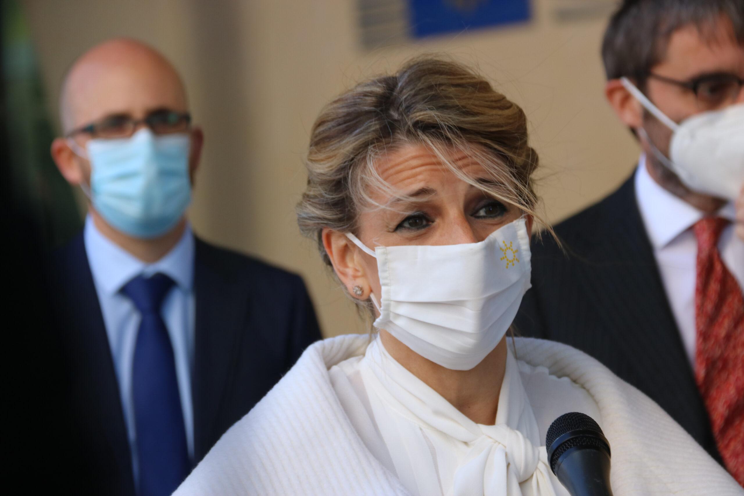 La ministra de Treball i Economia social, Yolanda Díaz, fent declaracions davant la Comissió Europea / ACN
