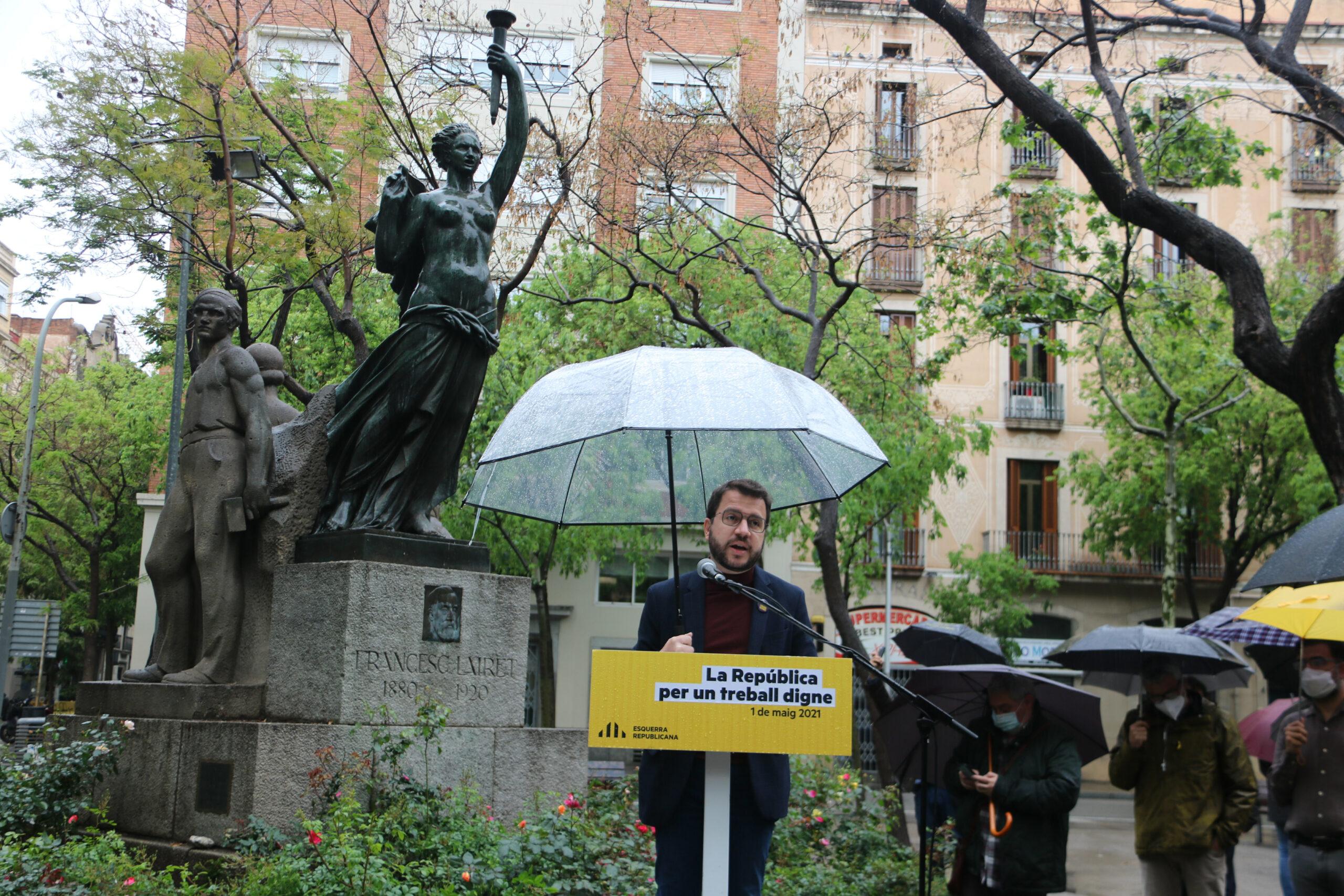El vicepresident del Govern amb funcions de president, Pere Aragonès durant l'acte d'ERC aquest Primer de Maig / ACN
