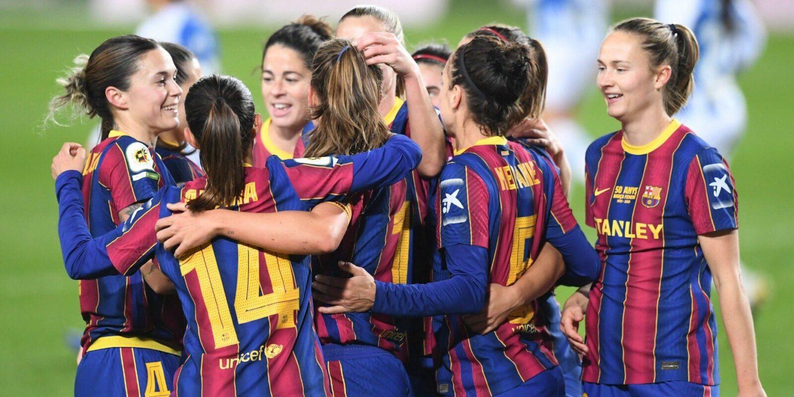 Les jugadores del Barça celebren un dels gols contra l'Espanyol   FC Barcelona