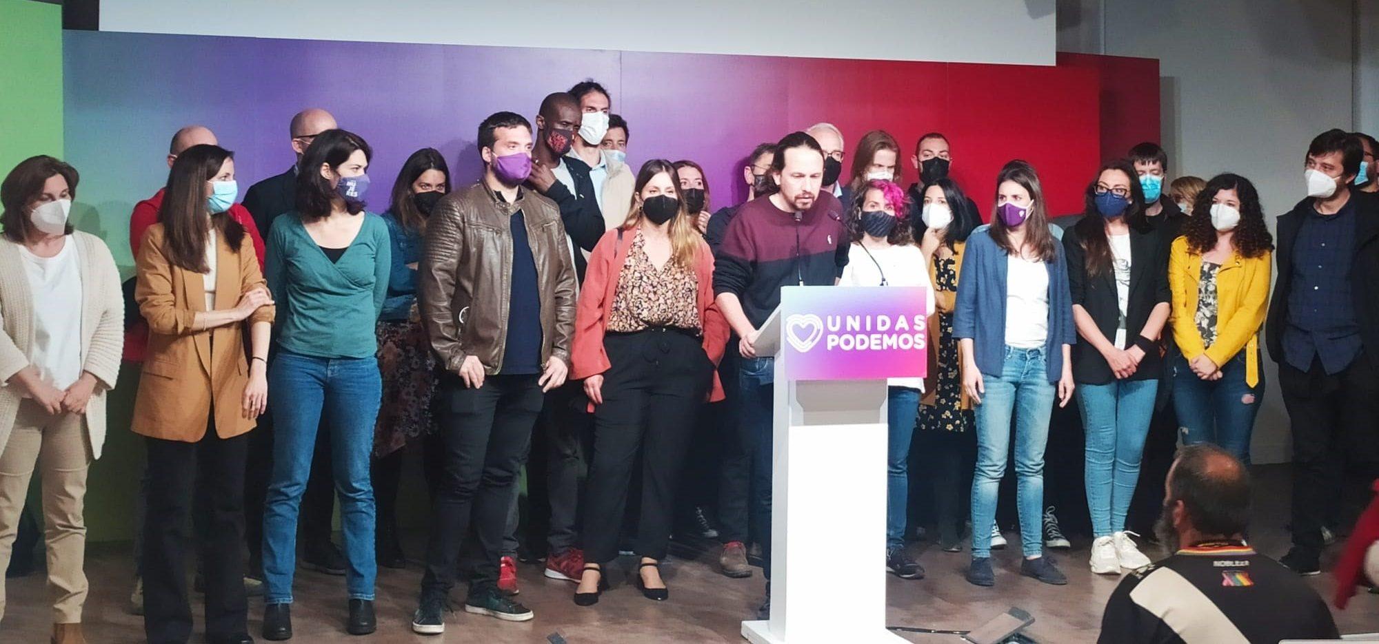 Pablo Iglesias anunciant que plega després de les eleccions autonòmiques de Madrid / Europa Press