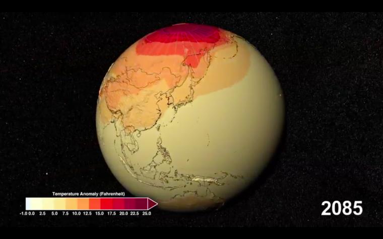 Estimació de l'escalfament global el 2085   NASA