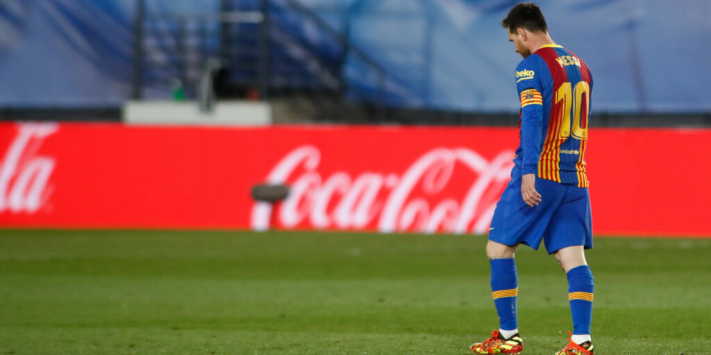 MADRID, SPAIN - APRIL 10: Lionel (Leo) Messi of FC Barcelona laments during the spanish league, La Liga, football match played between Real Madrid and FC Barcelona at Alfredo Di Stefano stadium on April 10, 2021 in Madrid, Spain. AFP7  / Europa Press 10/4/2021 ONLY FOR USE IN SPAIN