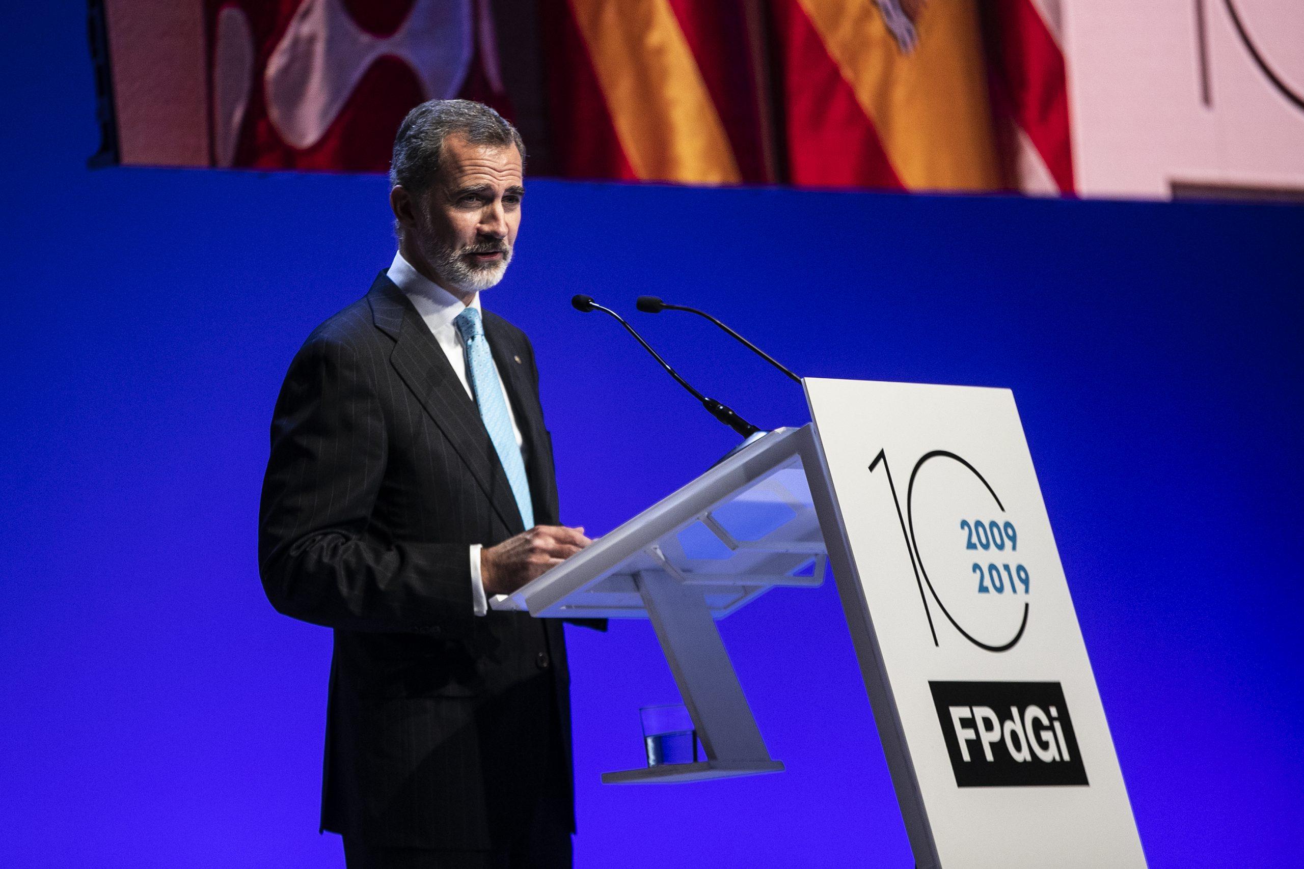 Pla americà del rei Felip VI durant l'entrega de premis de la Fundació Princesa de Girona el 4 de novembre del 2019 a Barcelona. (Horitzontal)