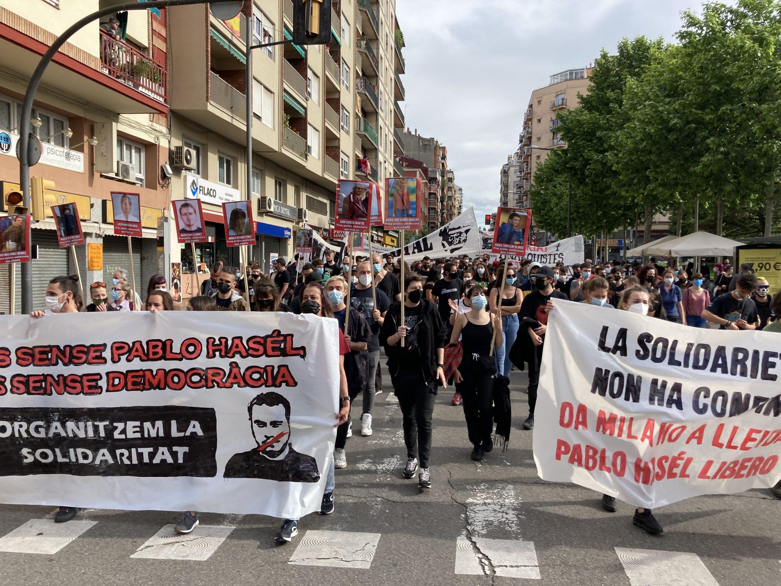 La manifestació a Lleida per reclamar la llibertat de Pablo Hasél | ACN