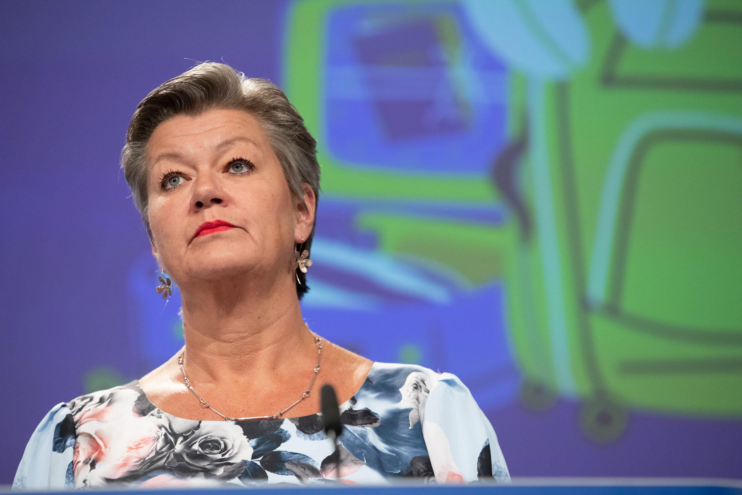 L'eurocomissaria de l'Interior, Ylva Johansson, durant una roda de premsa a Brussel·les | ACN