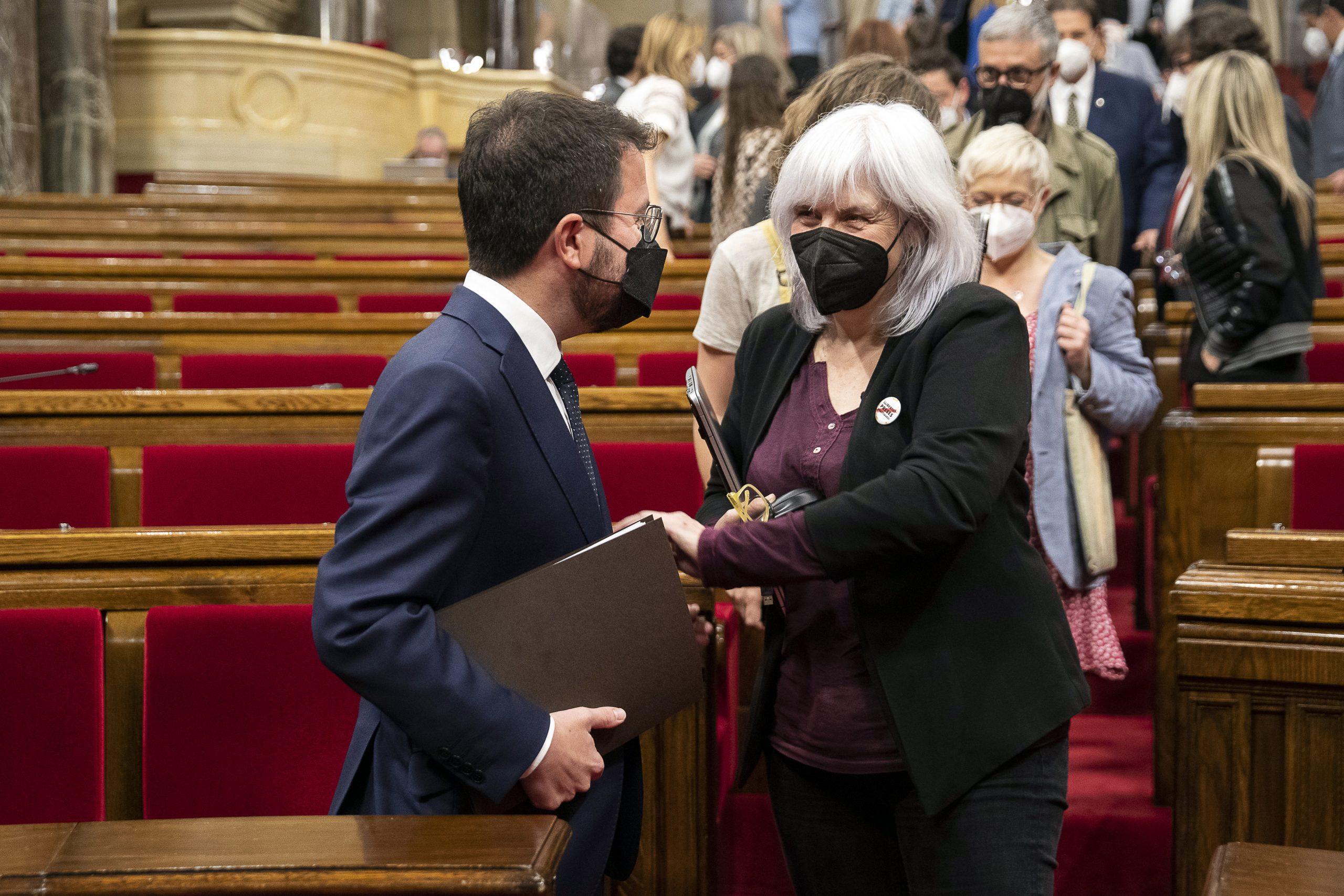 Debat d'investidura de Pere Aragonès com a President de la Generalitat al Parlament de Catalunya, enraona amb Car  foto: ACN/Jordi Play