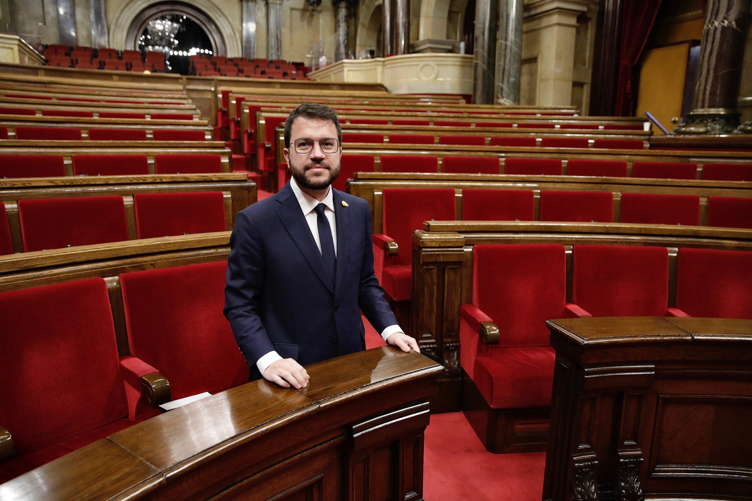 Pere Aragonès, just després de ser investit com a 132è president de la Generalitat. /ACN