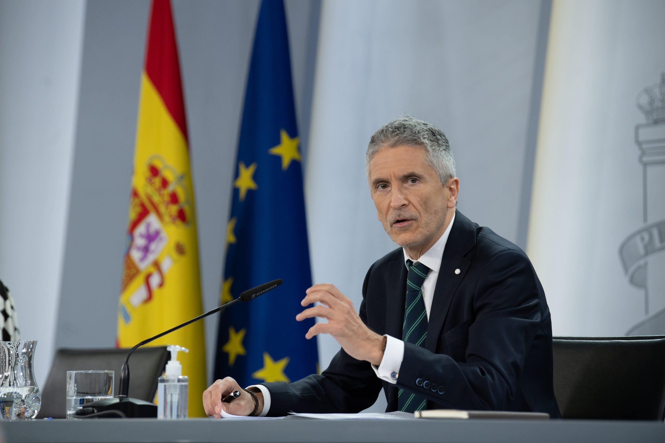 El ministre de l'Interior, Fernando Grande-Marlaska, en roda de premsa a La Moncloa | ACN