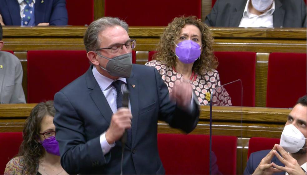 Jaume Giró, conseller d'Economia, en la sessió de control al Govern del ple del 2 de juny del 2021 / Canal Parlament