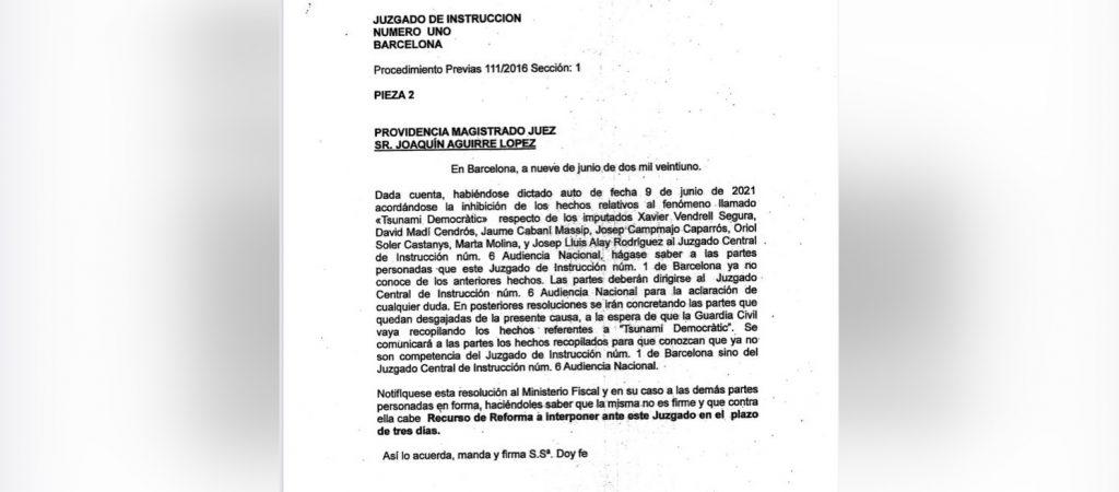 Providència de García Castellón sobre el Tsunami