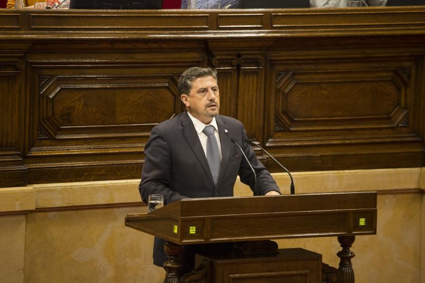 Jordi Orobitg, al faristol del Parlament durant la presentació de la llei de Transitorietat/Parlament