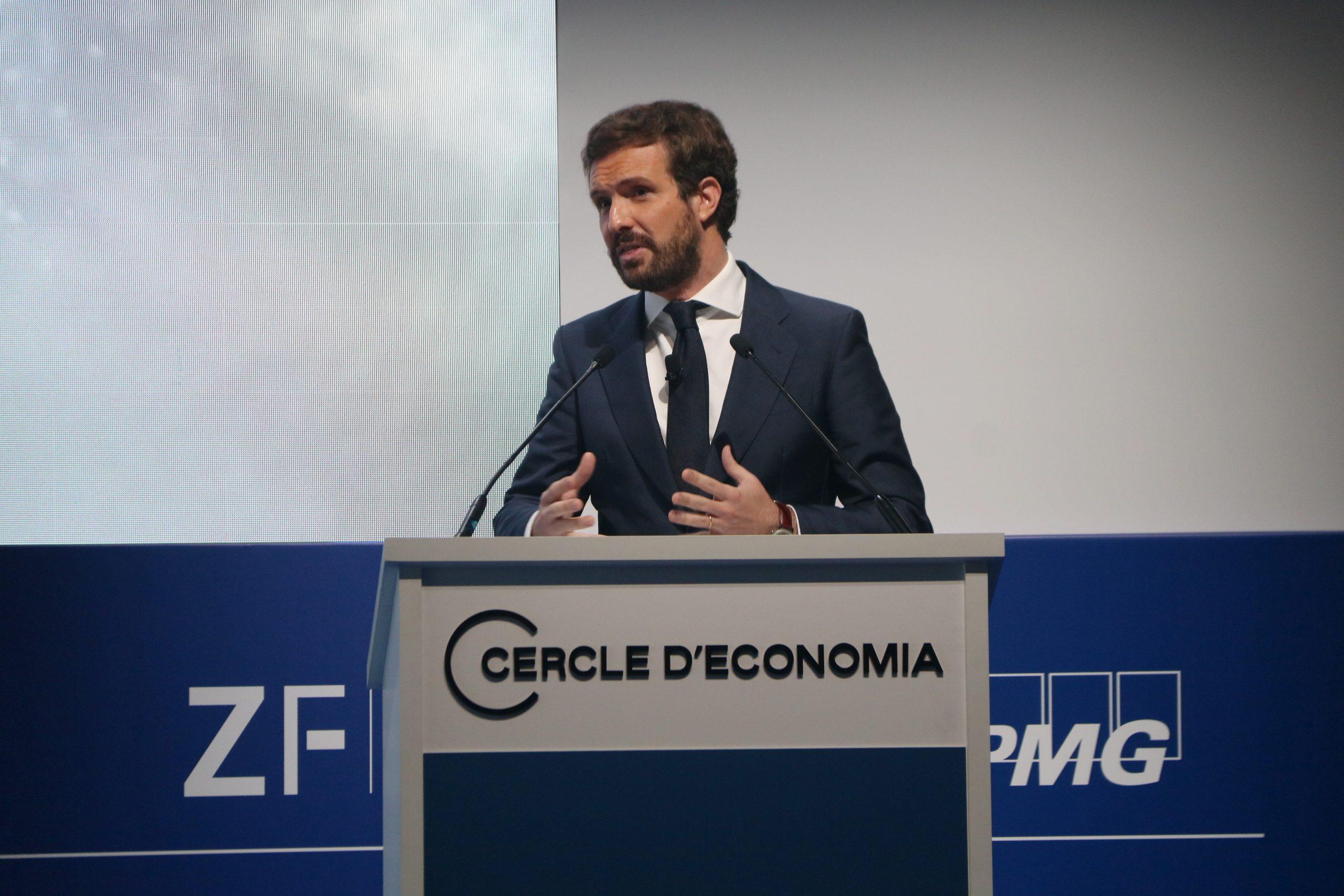 El president del PP, Pablo Casado, durant la seva intervenció al Cercle d'Economia / ACN