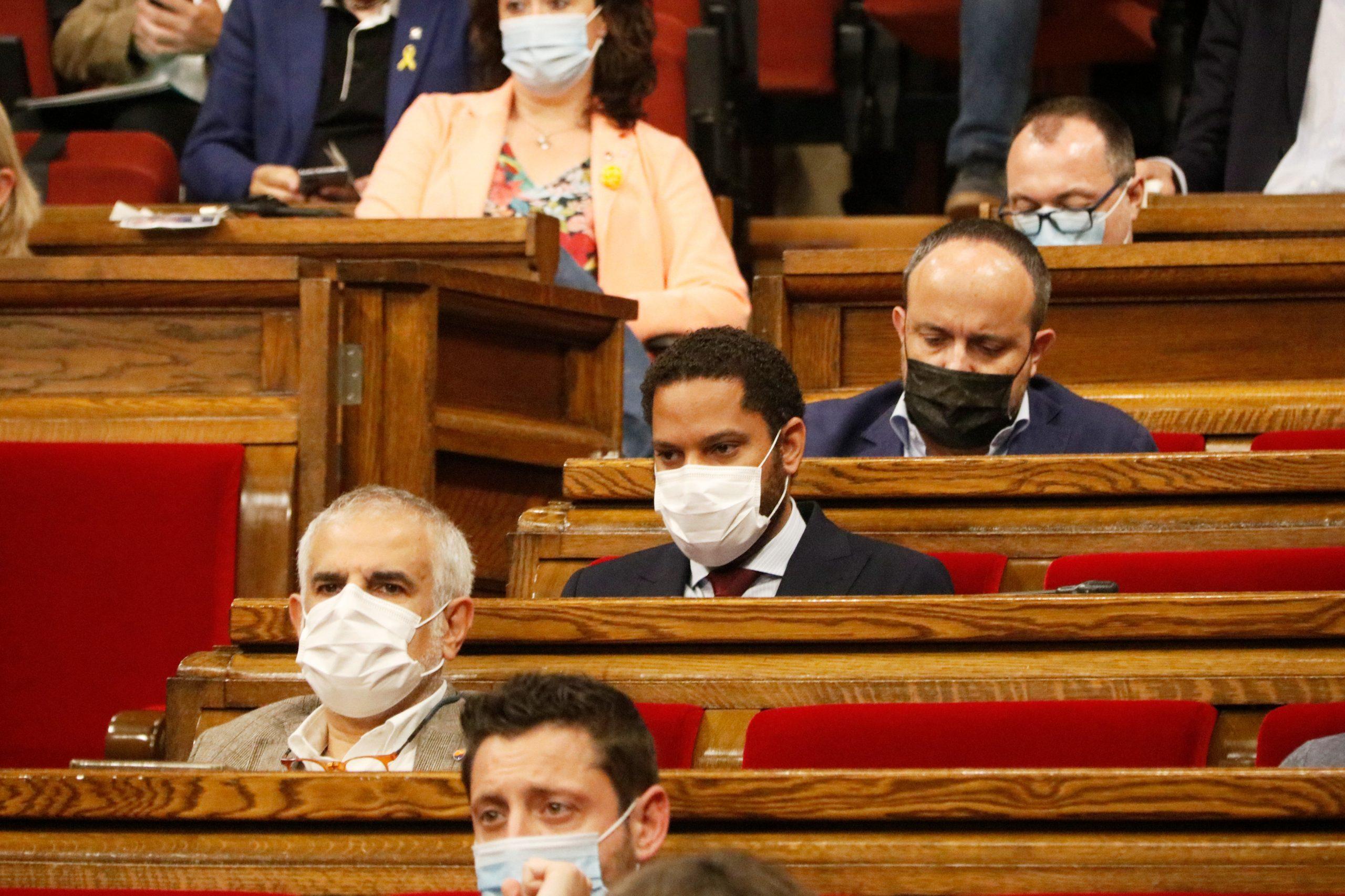 El president de Cs al Parlament, Carlos Carrizosa; el de Vox, Ignacio Garriga; i el del PPC, Alejandro Fernández / ACN